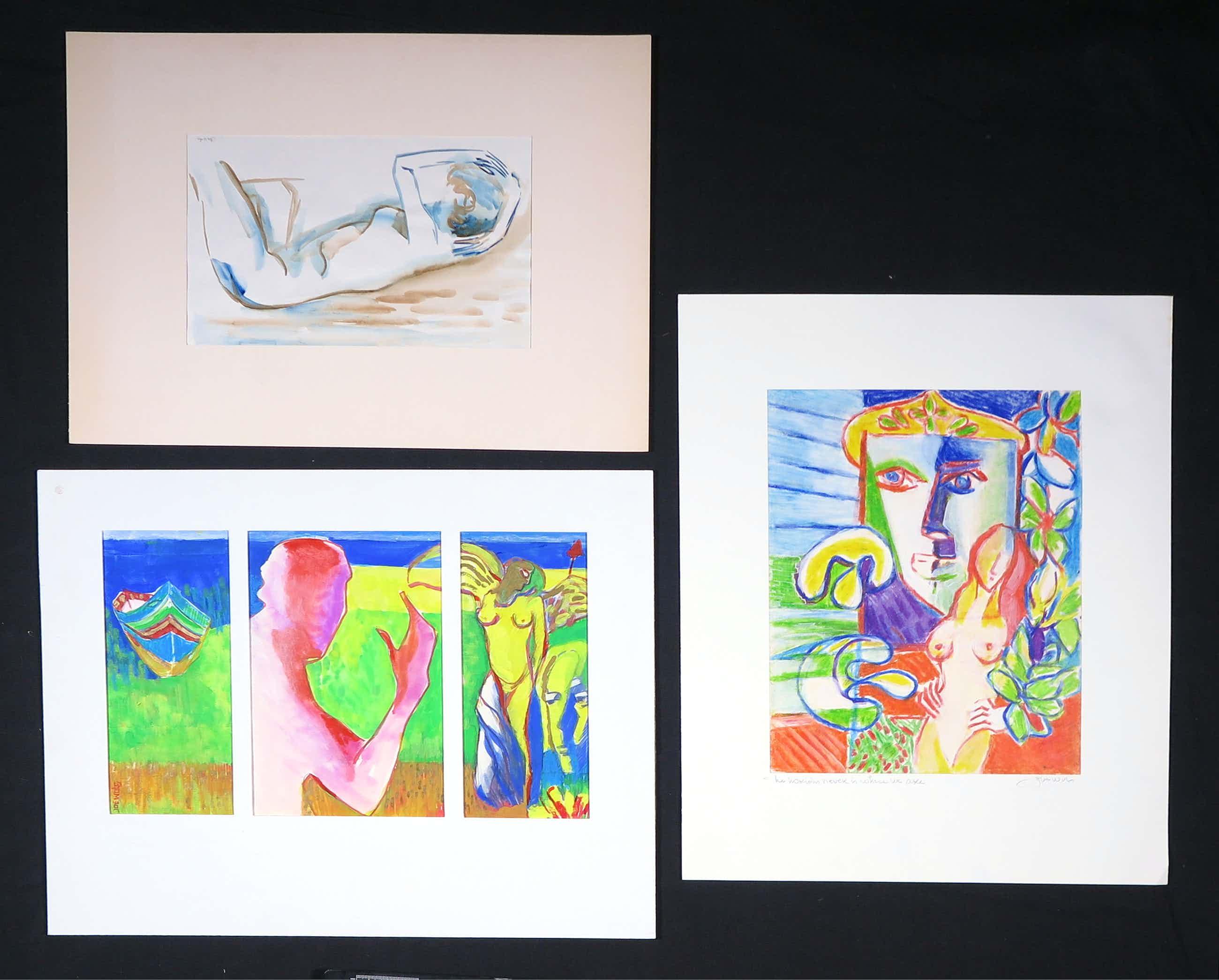 Joe Wols - Lot van drie tekeningen, Verschillende figuren kopen? Bied vanaf 35!