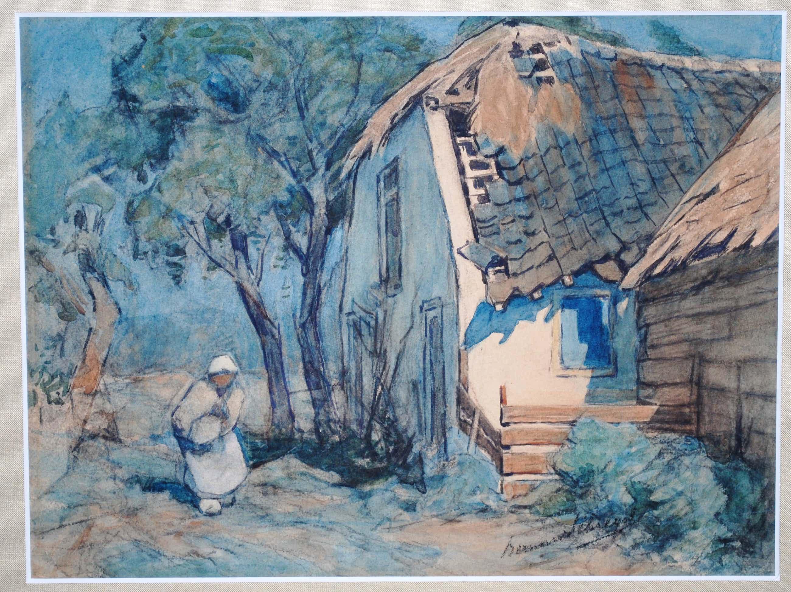 Bernard Schregel - Zonnige landelijke scene - hoge kwaliteit aquarel kopen? Bied vanaf 150!