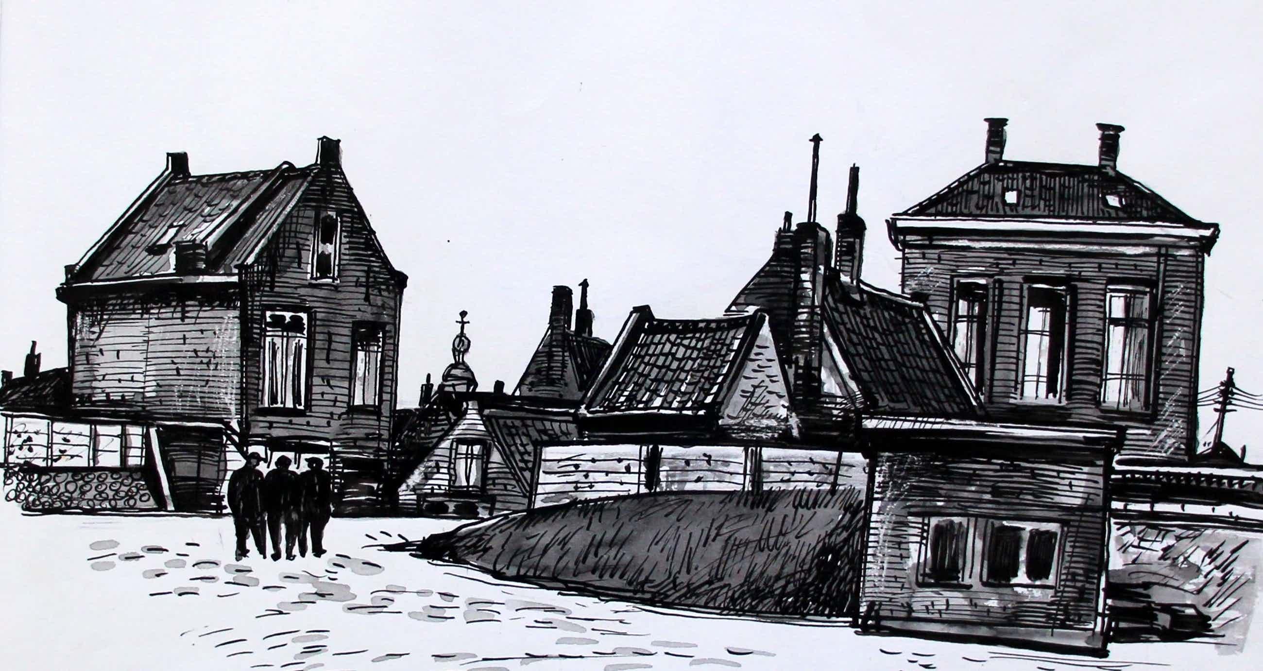 Charles J. Kemper - Pen tekening: Stavenisse kopen? Bied vanaf 59!