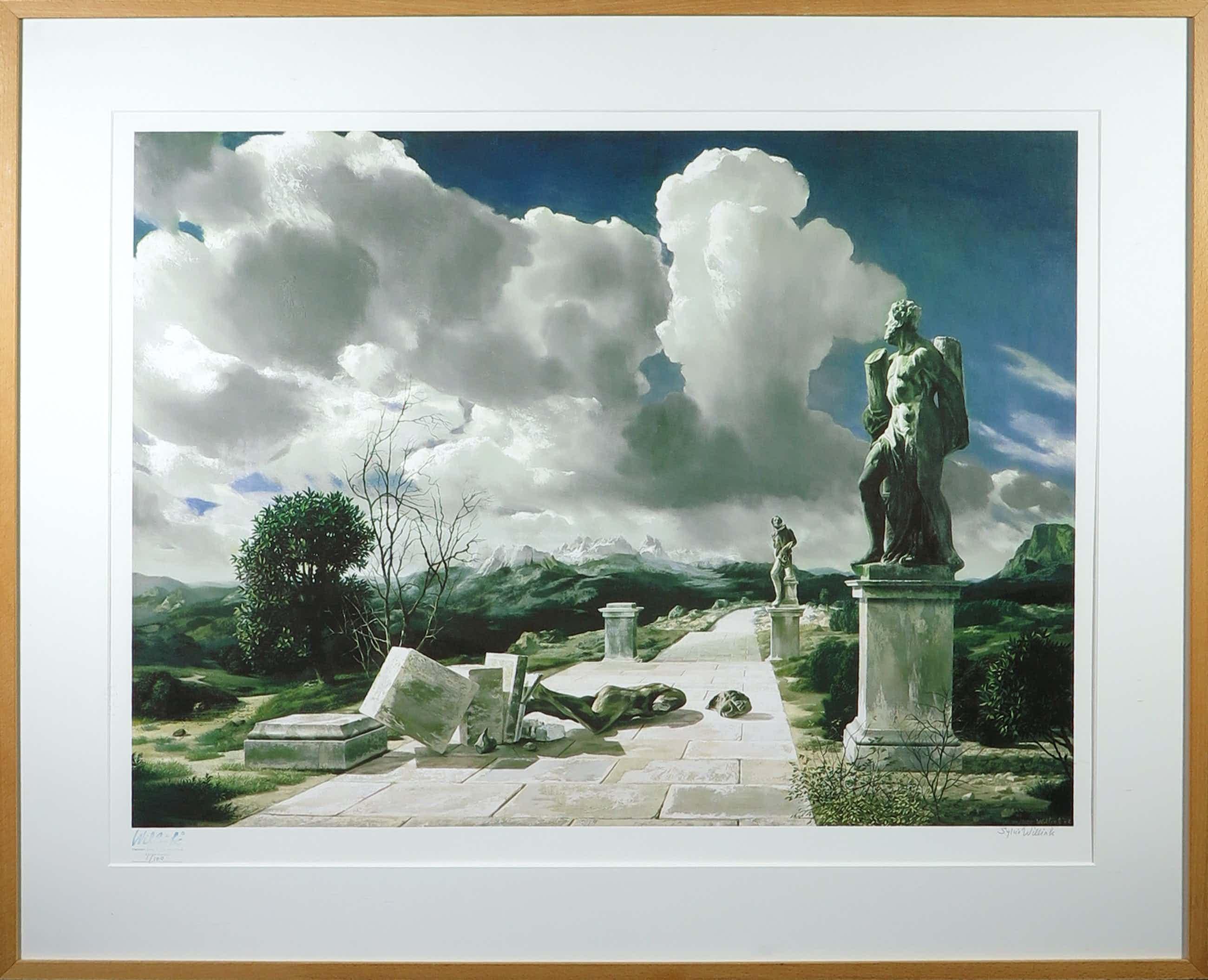 Carel Willink - Litho, Surrealistisch landschap - Ingelijst kopen? Bied vanaf 562!