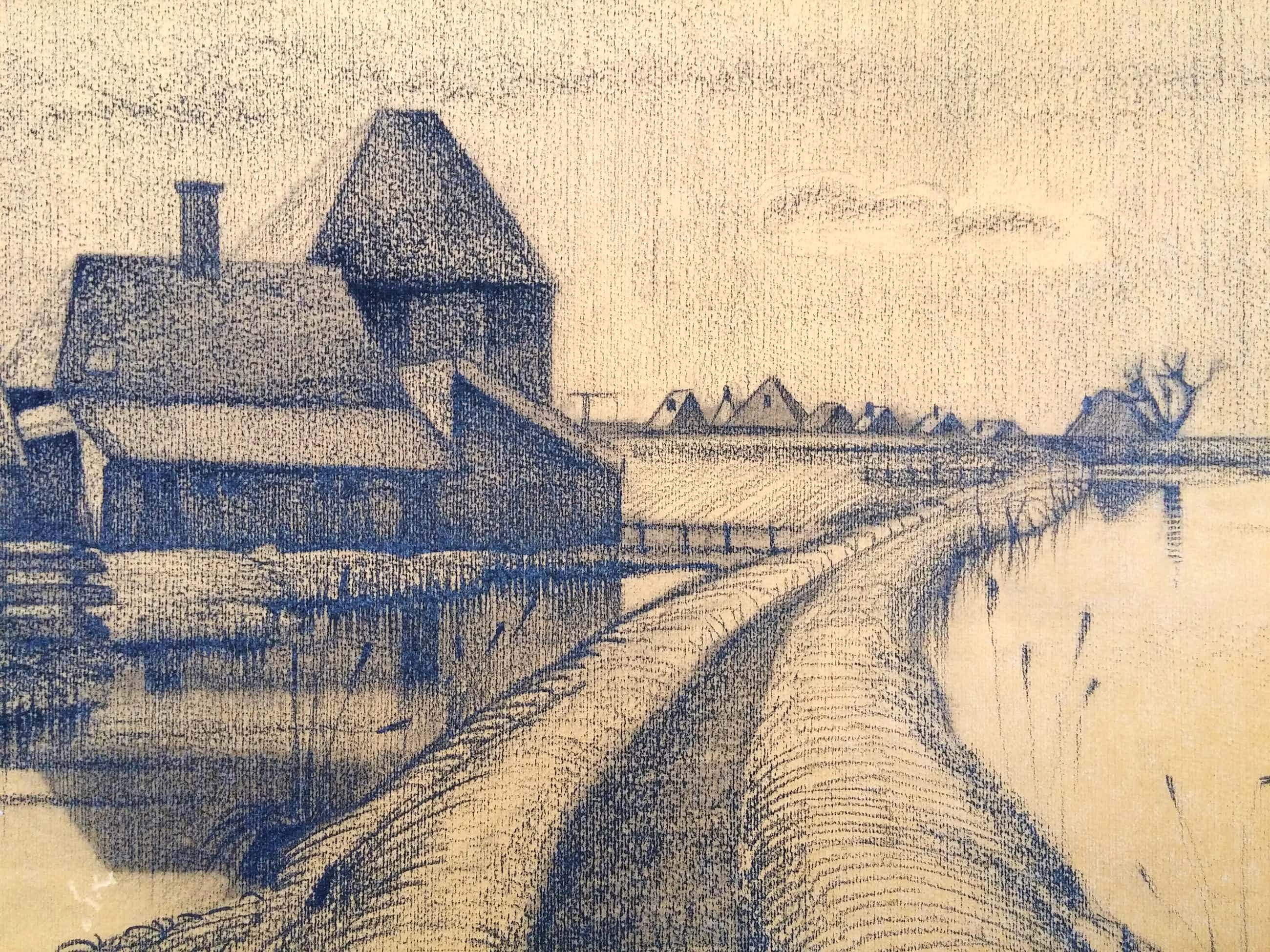 Cor Dik - Fraaie krijttekening van Assendelft uit 1929 kopen? Bied vanaf 115!