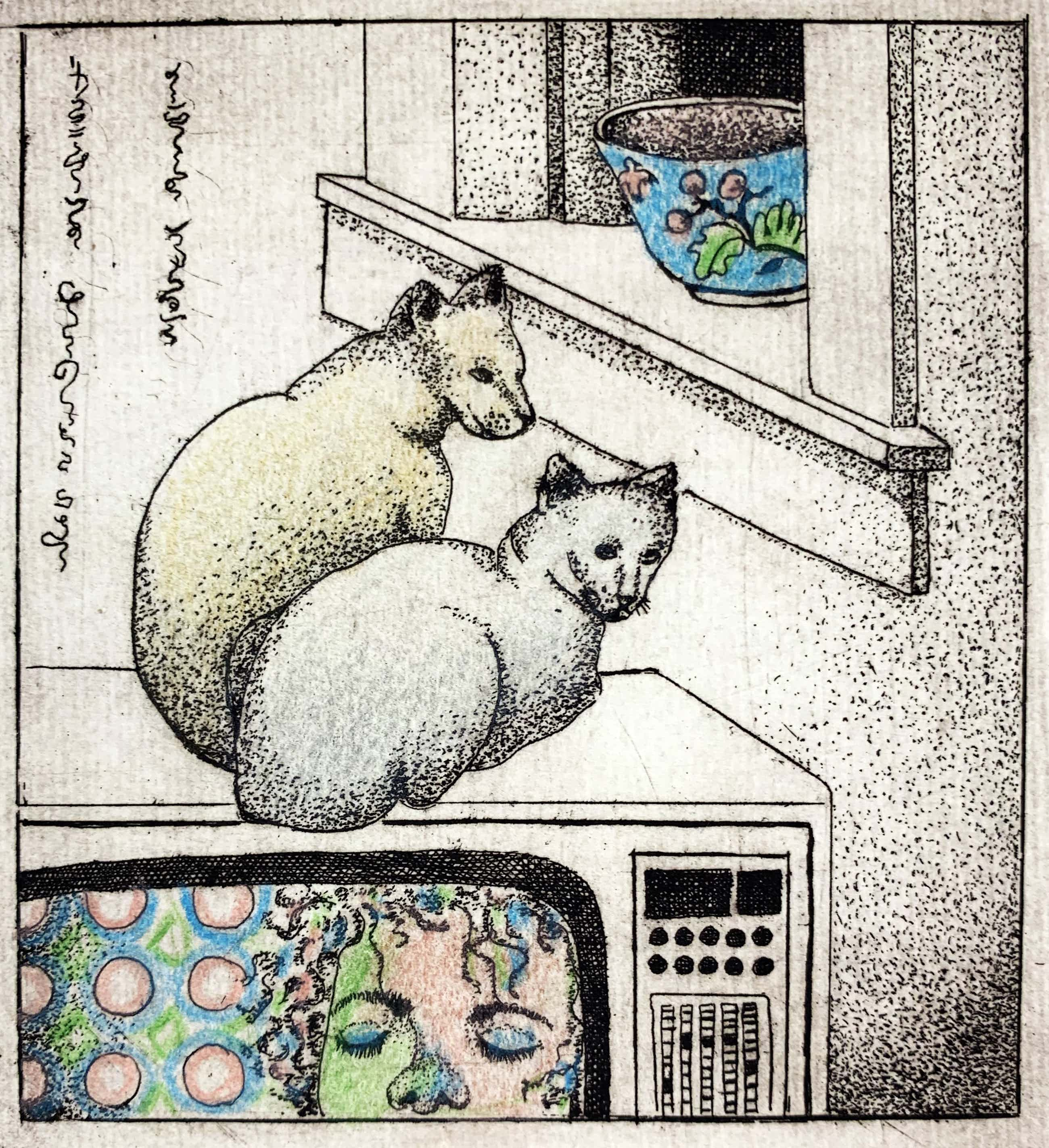 Carla Kleekamp - ets - 'Twee poezen' - eigen druk 1980 kopen? Bied vanaf 50!