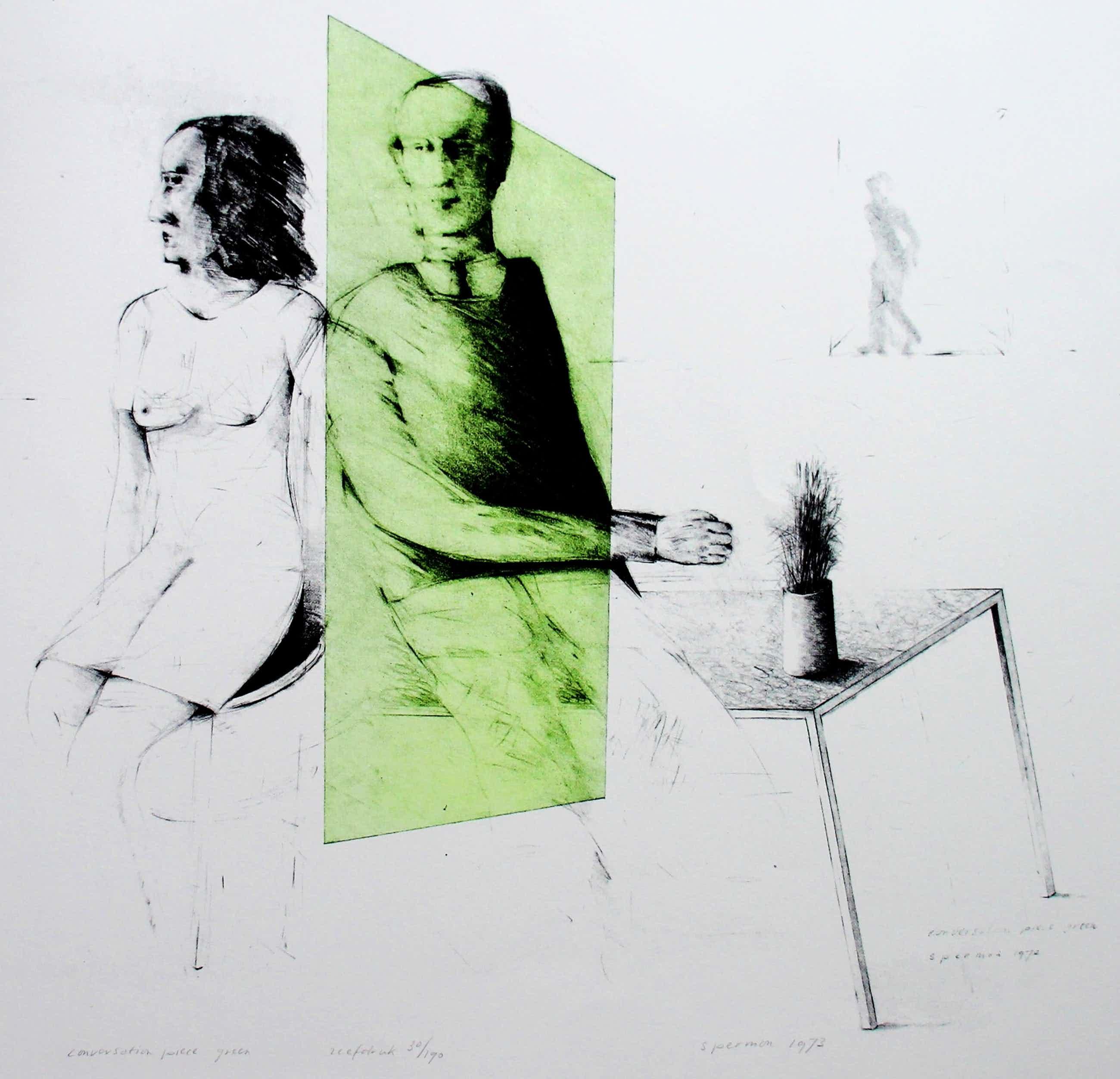 Kees Spermon - zeefdruk: conversation piece green - 1973 kopen? Bied vanaf 45!