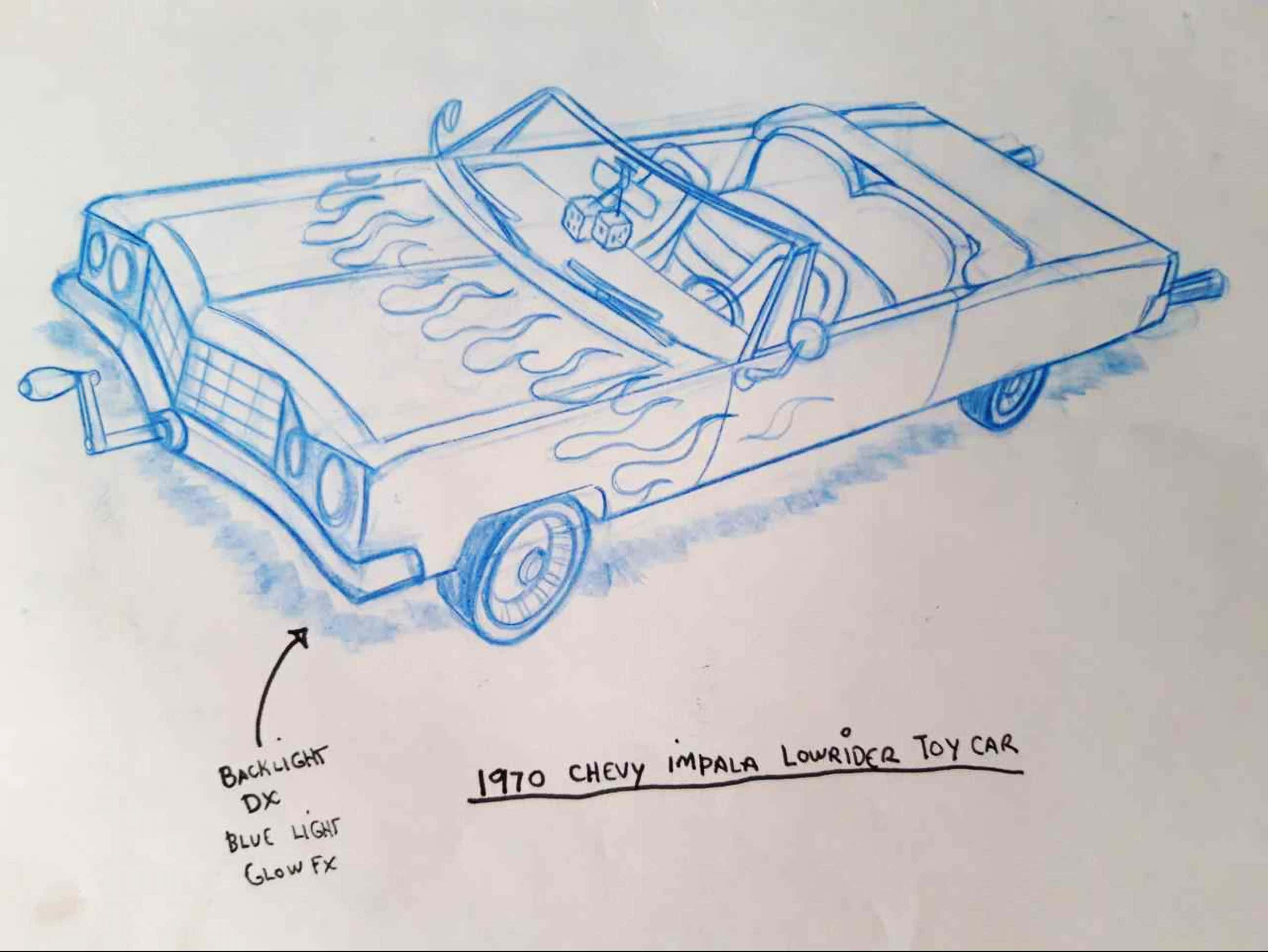 Matt Groening - originele productie tekening, The Simpsons, Chevy Impala Lowrider kopen? Bied vanaf 100!