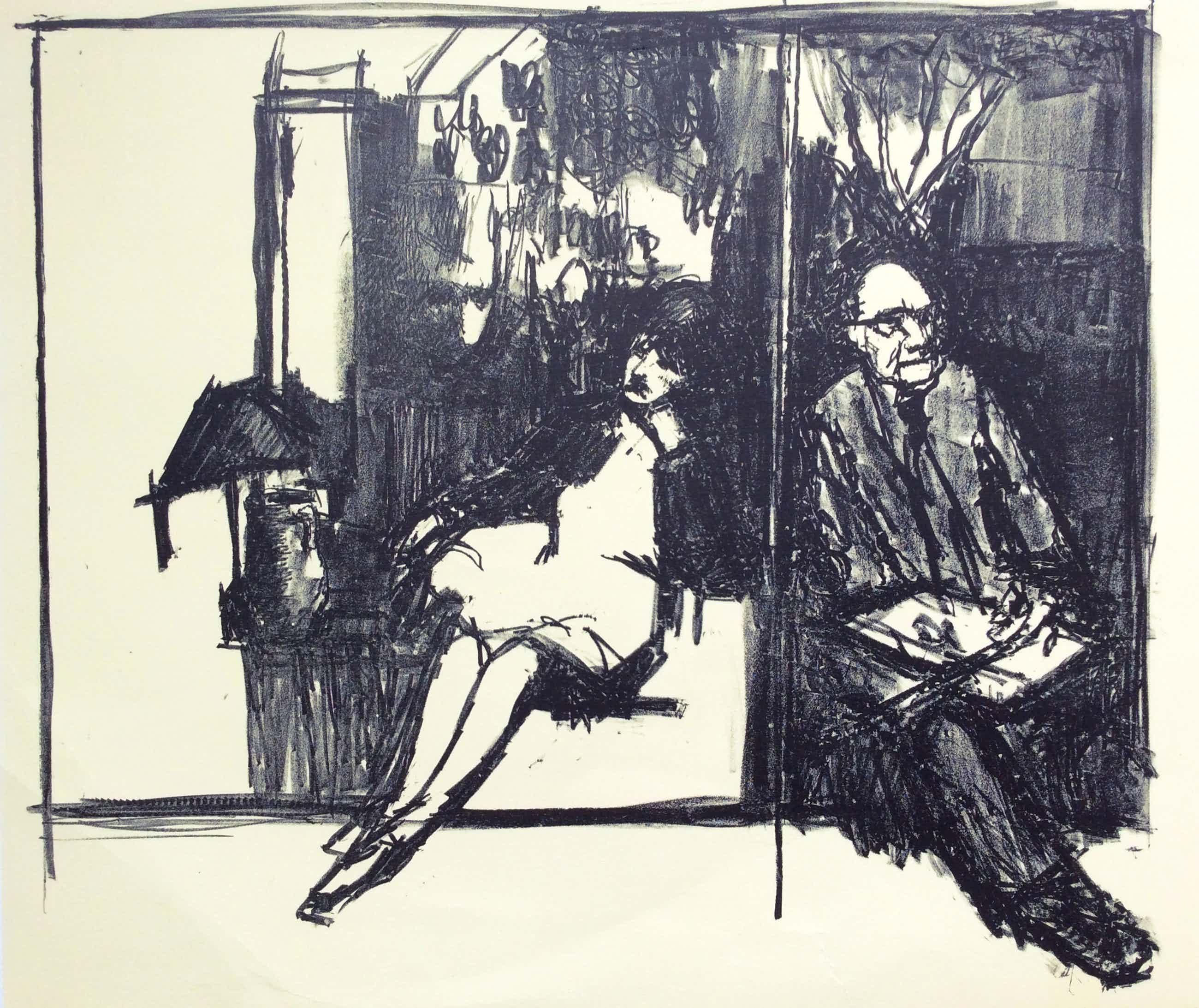 Kees Verwey - Kees en Jeanne in het atelier - lithografie kopen? Bied vanaf 69!