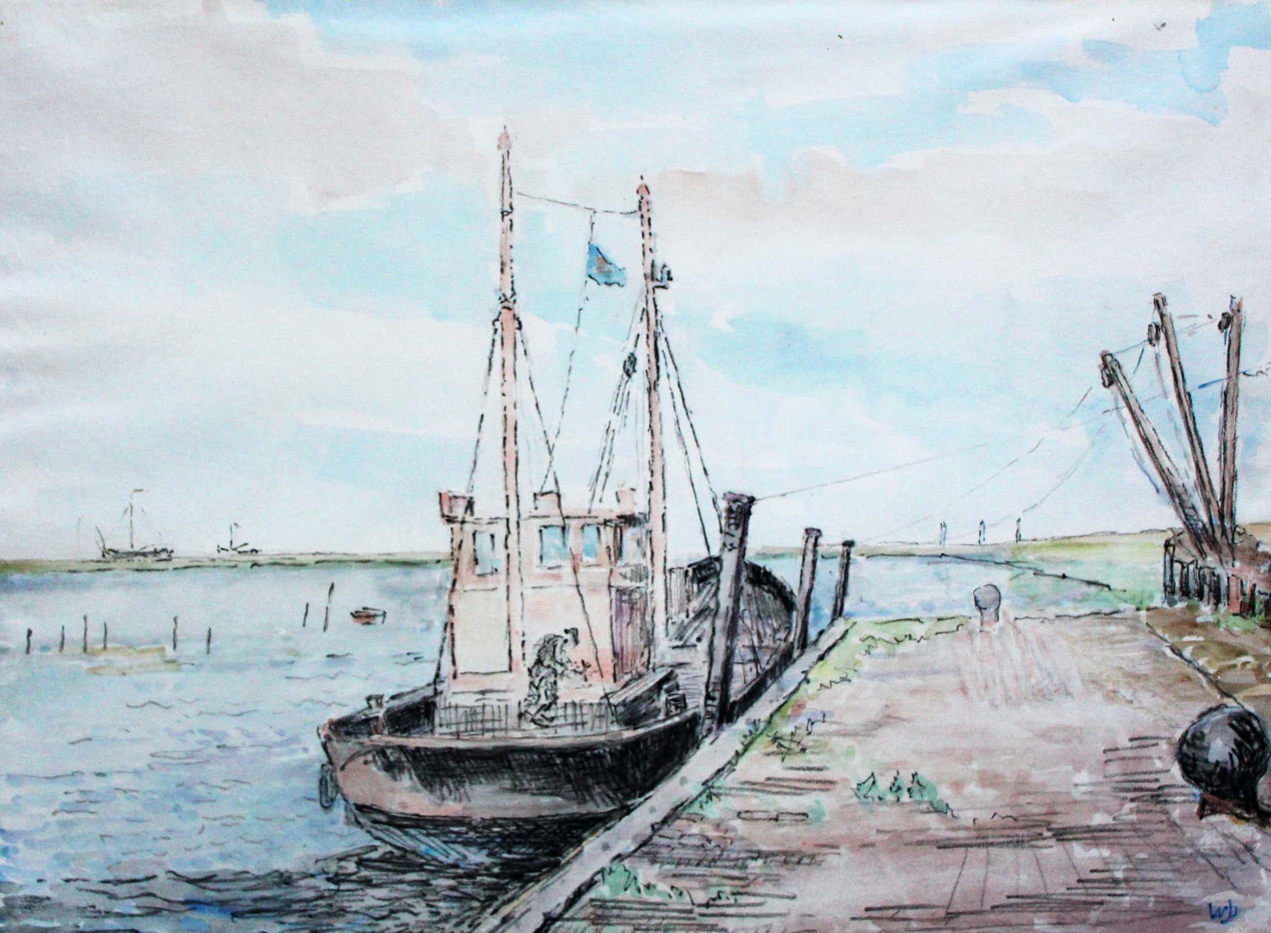 Willem Jans Dijk - Aquarel: Het moderne visserschip kopen? Bied vanaf 75!