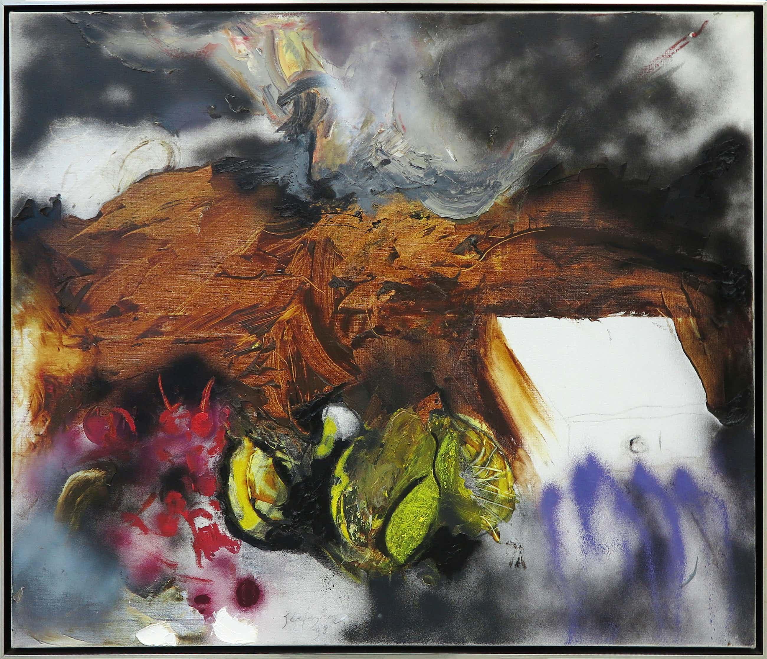 Ger Lataster - Gemengde techniek op doek, Z.T. Abstracte compositie - Ingelijst (Groot) kopen? Bied vanaf 2000!