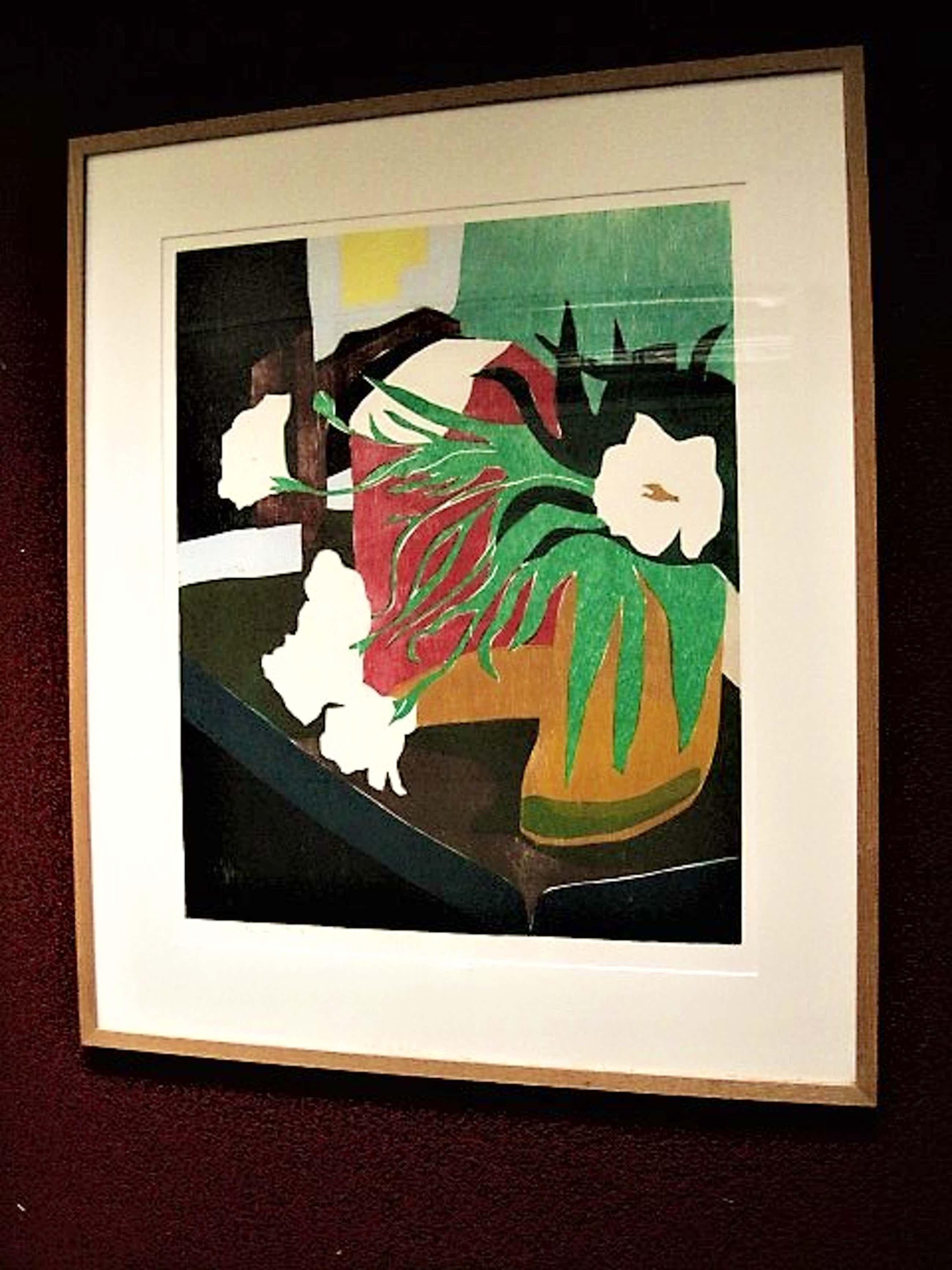 Vincent van Ojen - Grote expressionistische Zeefdruk - stilleven - 1999 - gesigneerd kopen? Bied vanaf 110!