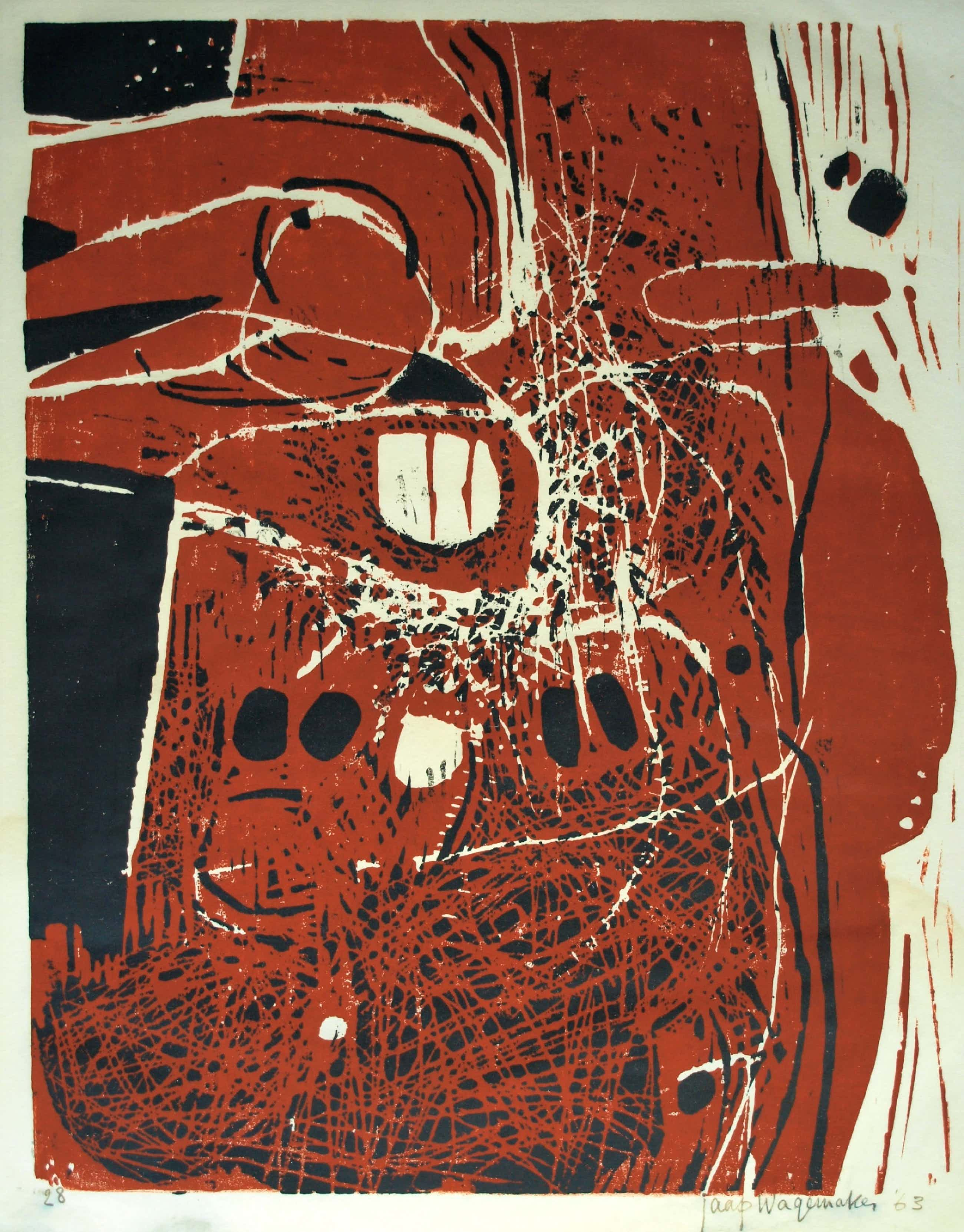 Jaap Wagemaker - Handgesigneerde houtsnede op Japans papier, Compositie - 1963 kopen? Bied vanaf 200!