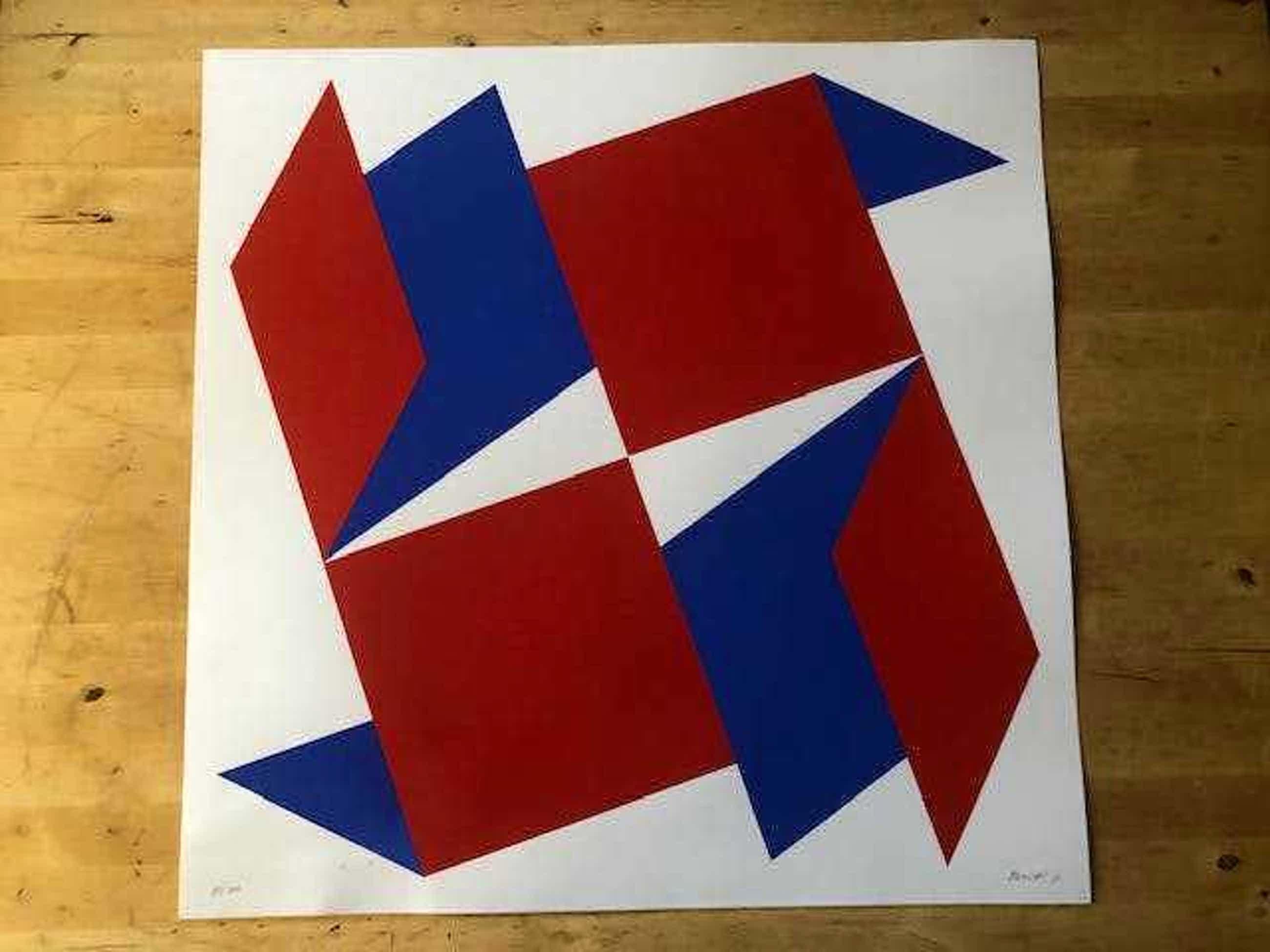Bob Bonies - abstracte zeefdruk in rood, wit en blauw uit 1971 kopen? Bied vanaf 61!