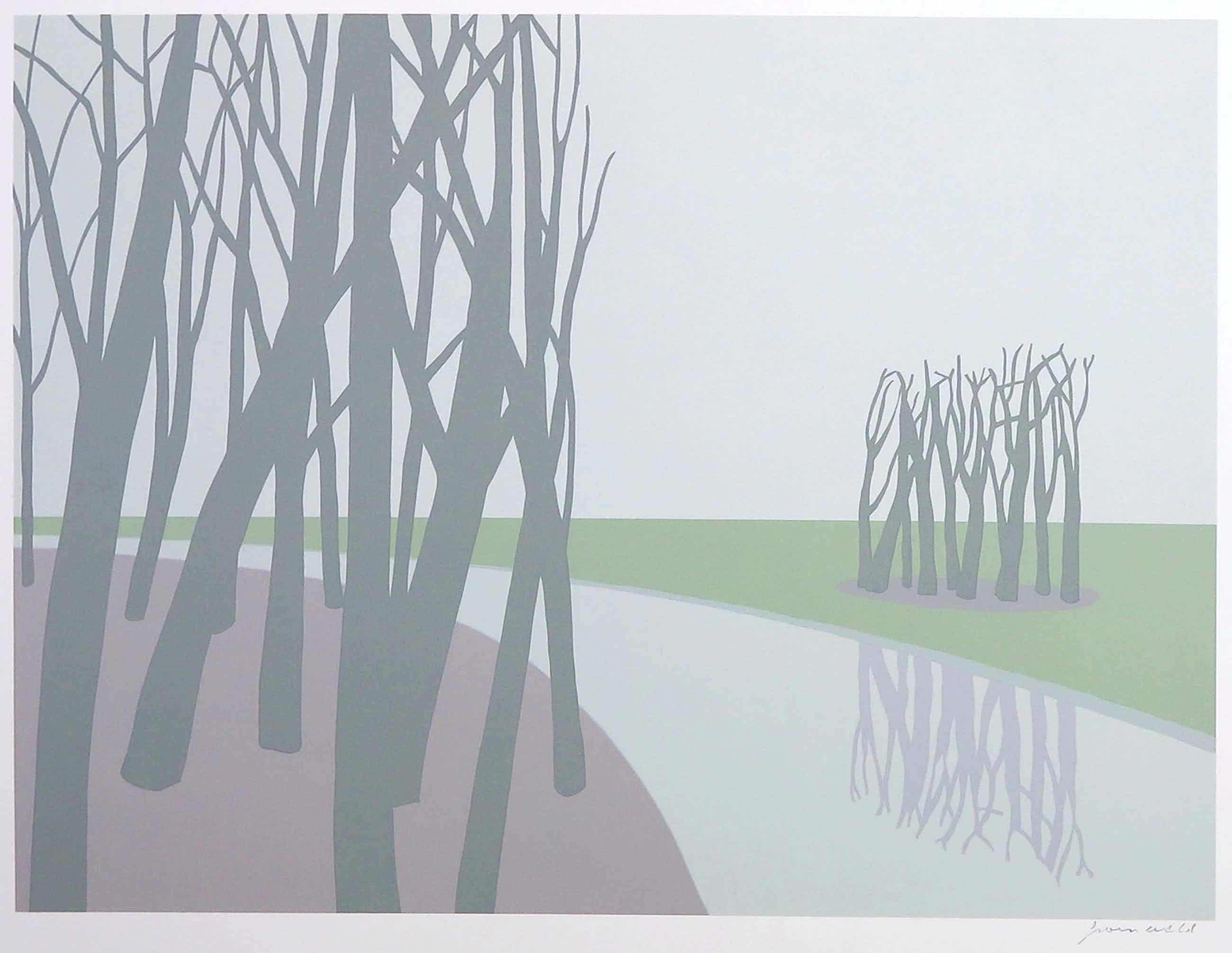 Doris Groeneveld - Zeefdruk, Landschap met bomen kopen? Bied vanaf 50!