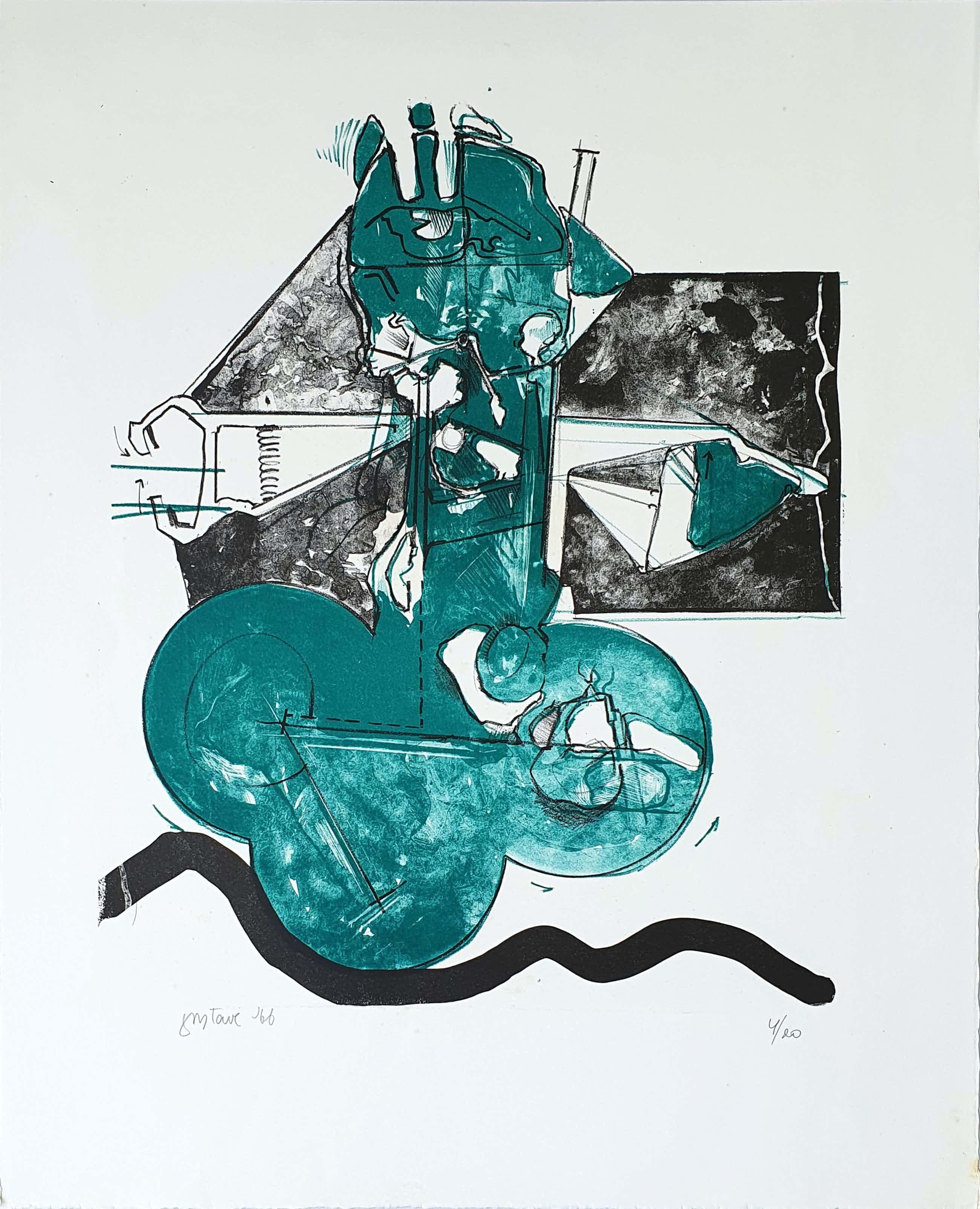 Gustave Asselbergs - Litho, Compositie in groen (1966) kopen? Bied vanaf 65!