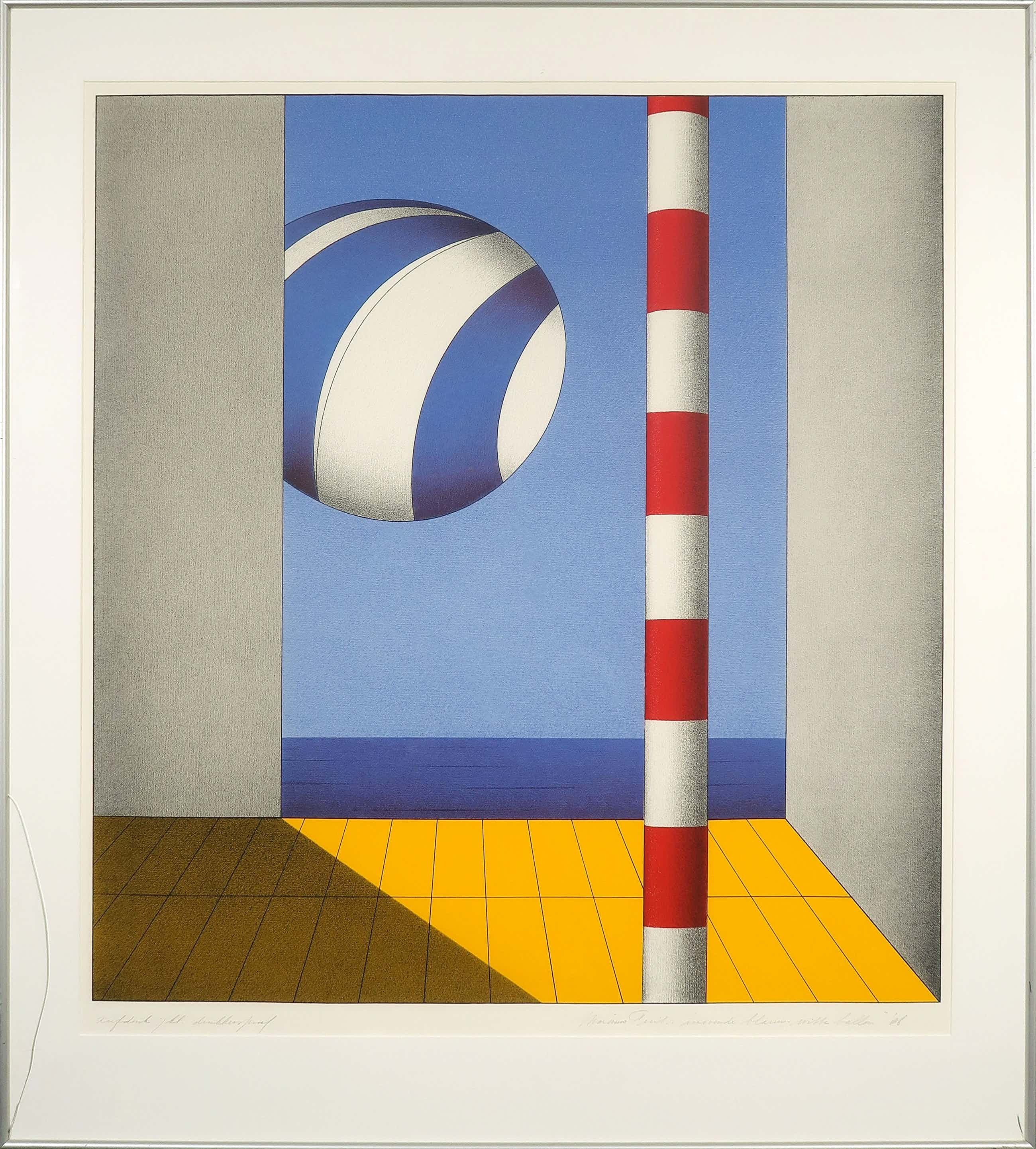 Marinus Fuit - Zeefdruk, Zwevende blauw-witte ballon - Ingelijst (Groot) kopen? Bied vanaf 85!