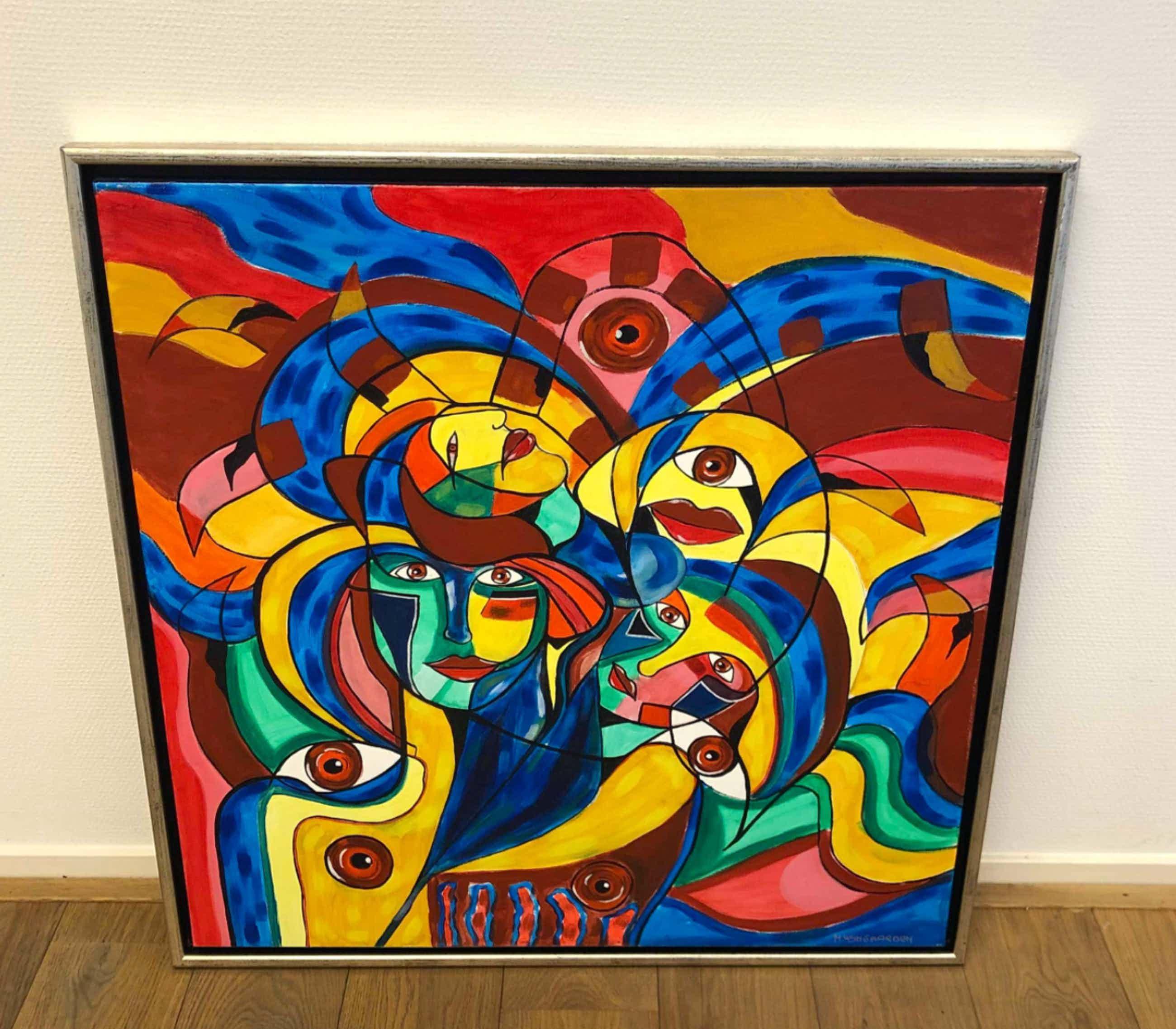 Maartje Wijngaarden - Schilderij met gezichten (groot werk!) kopen? Bied vanaf 75!