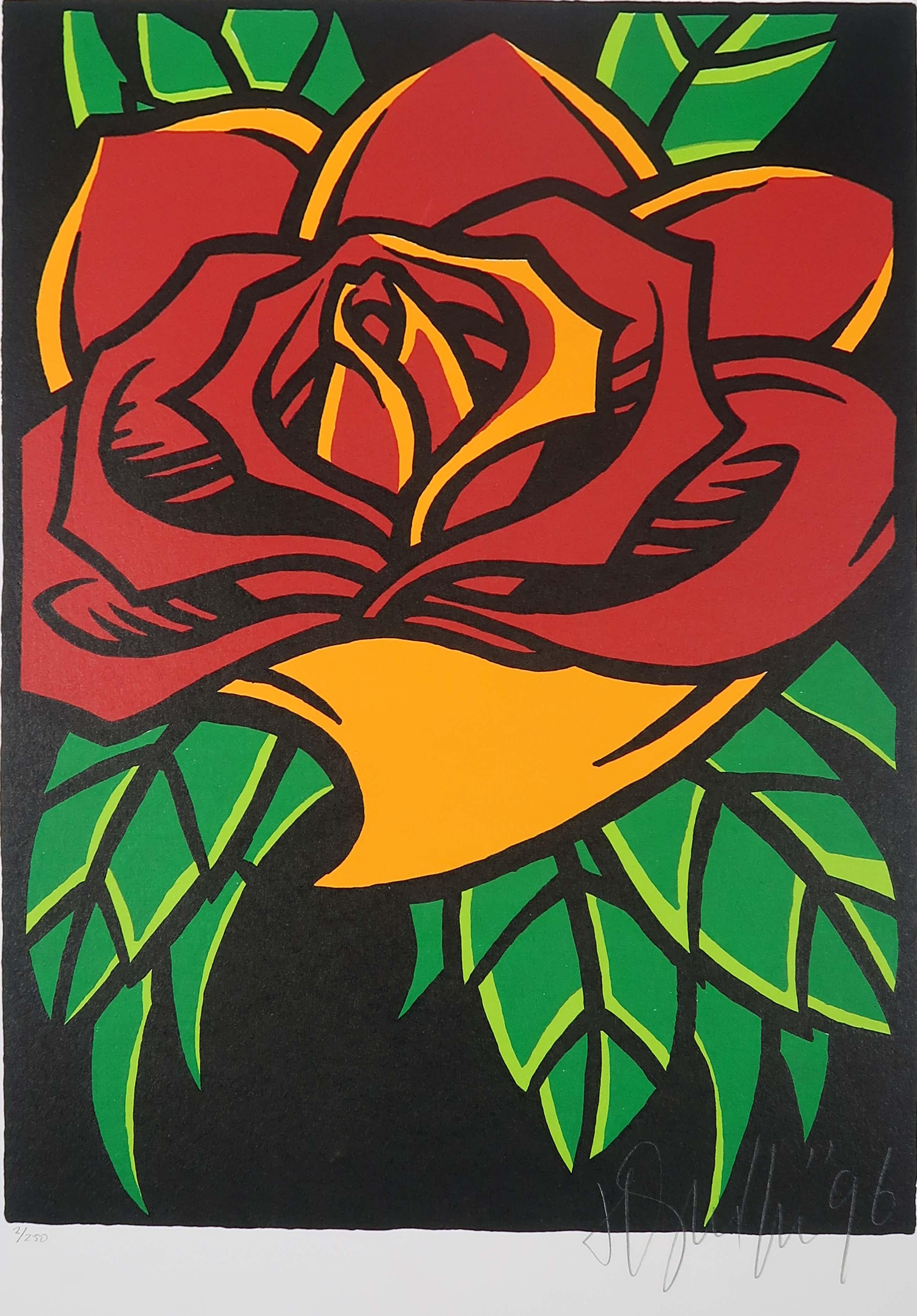 Henk Schiffmacher - Zeefdruk, De roos  kopen? Bied vanaf 110!