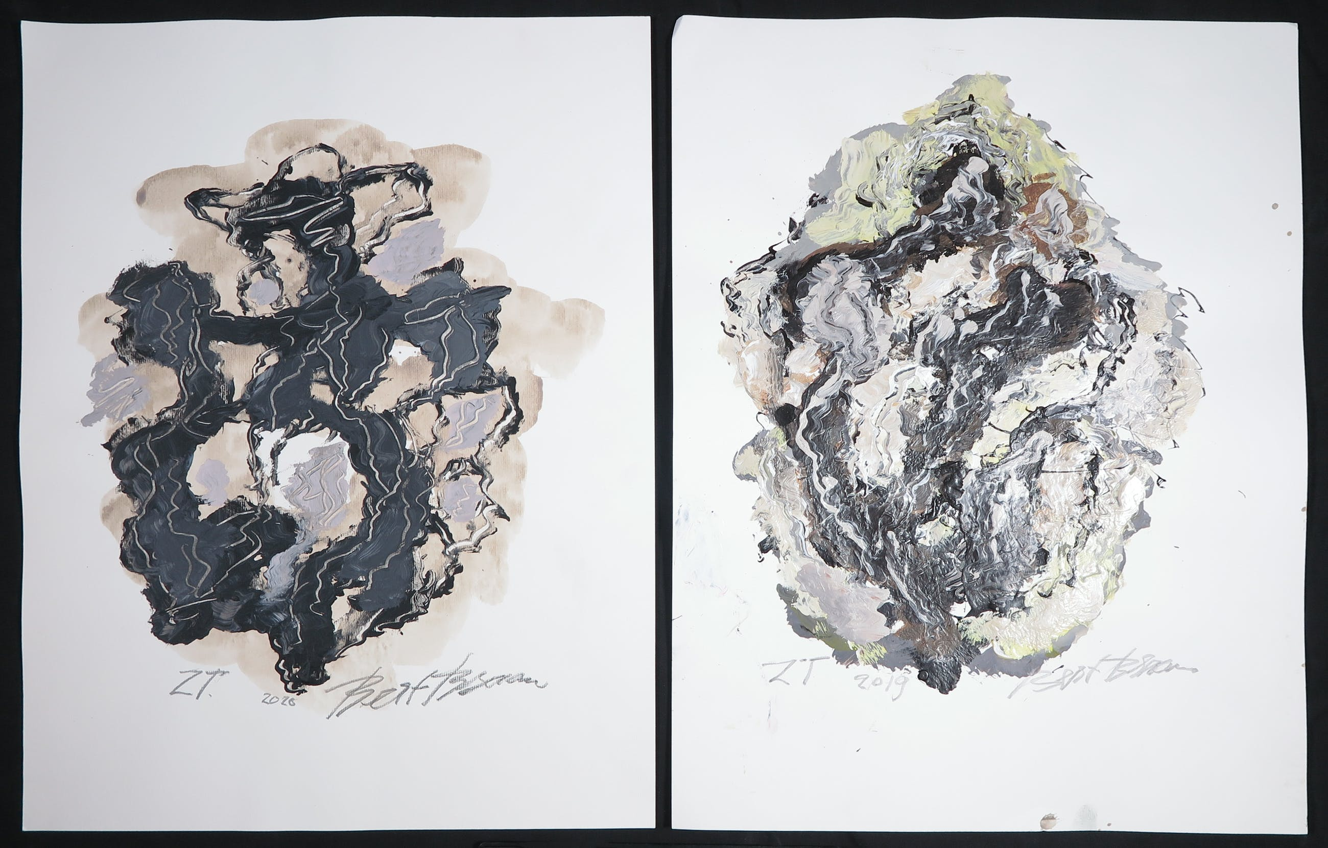 Bert Braam - Gemengde techniek op papier, Lot van twee abstracte composities kopen? Bied vanaf 1!