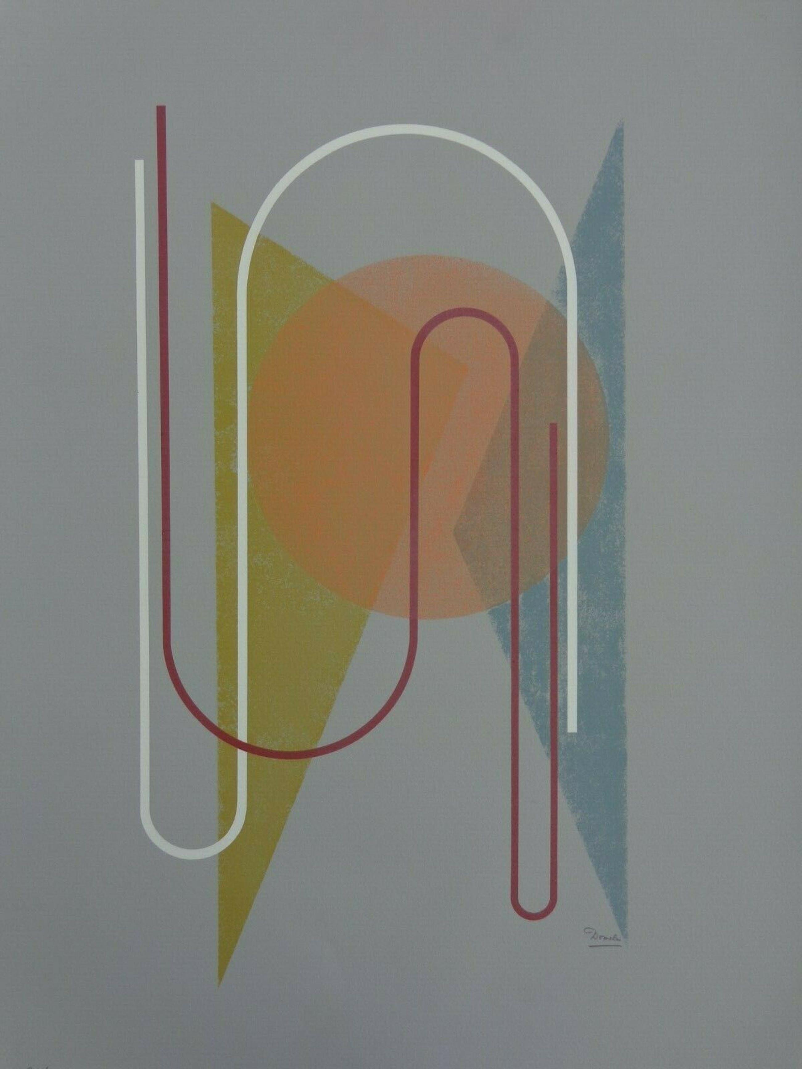 Cesar Domela - GEOMETRISCHE ABSTRACTIE / KLEURLITHO / 66x50cm / SIG kopen? Bied vanaf 120!
