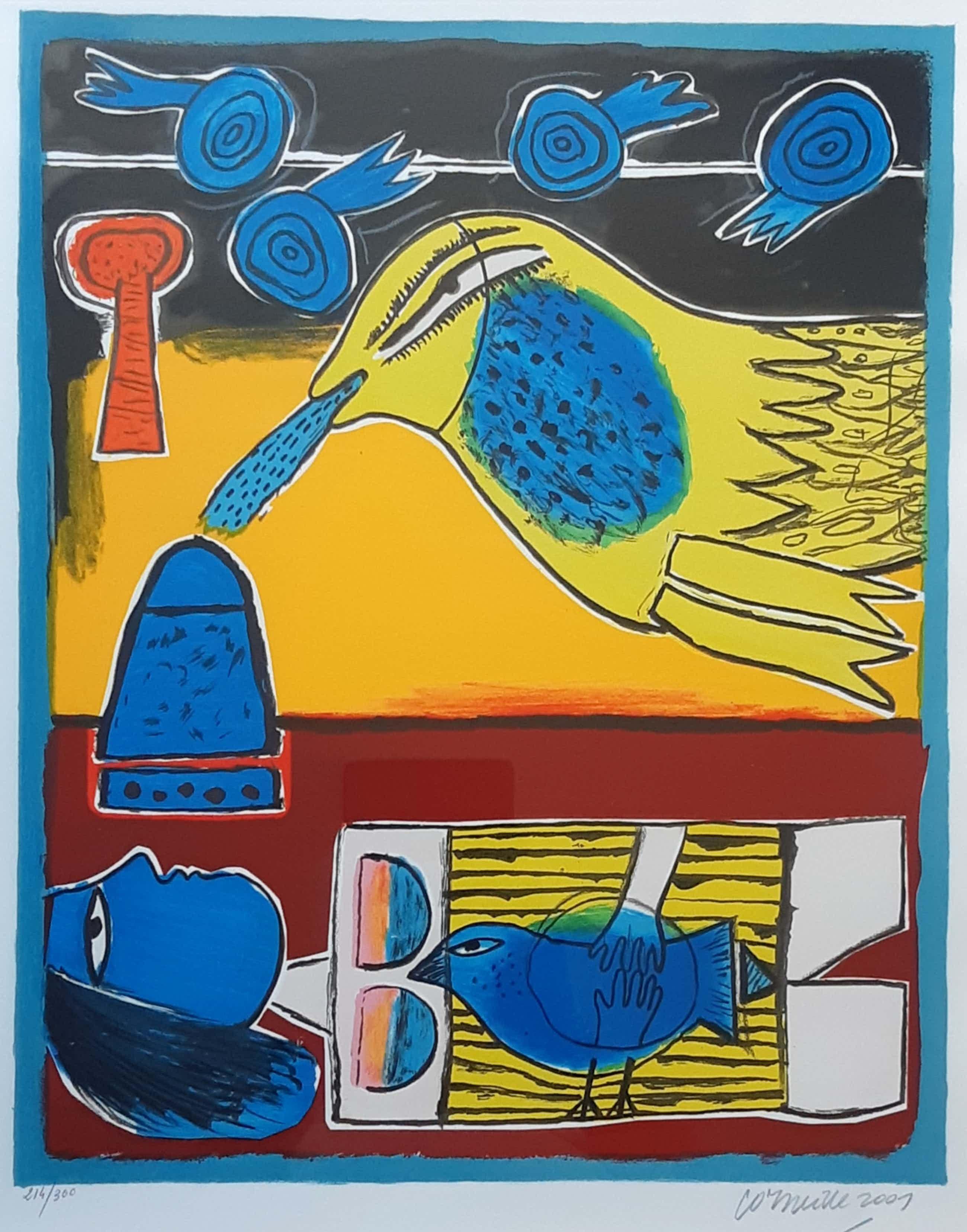 """Corneille - Kleurrijke zeefdruk """" Iza II """" uit 2001 kopen? Bied vanaf 245!"""