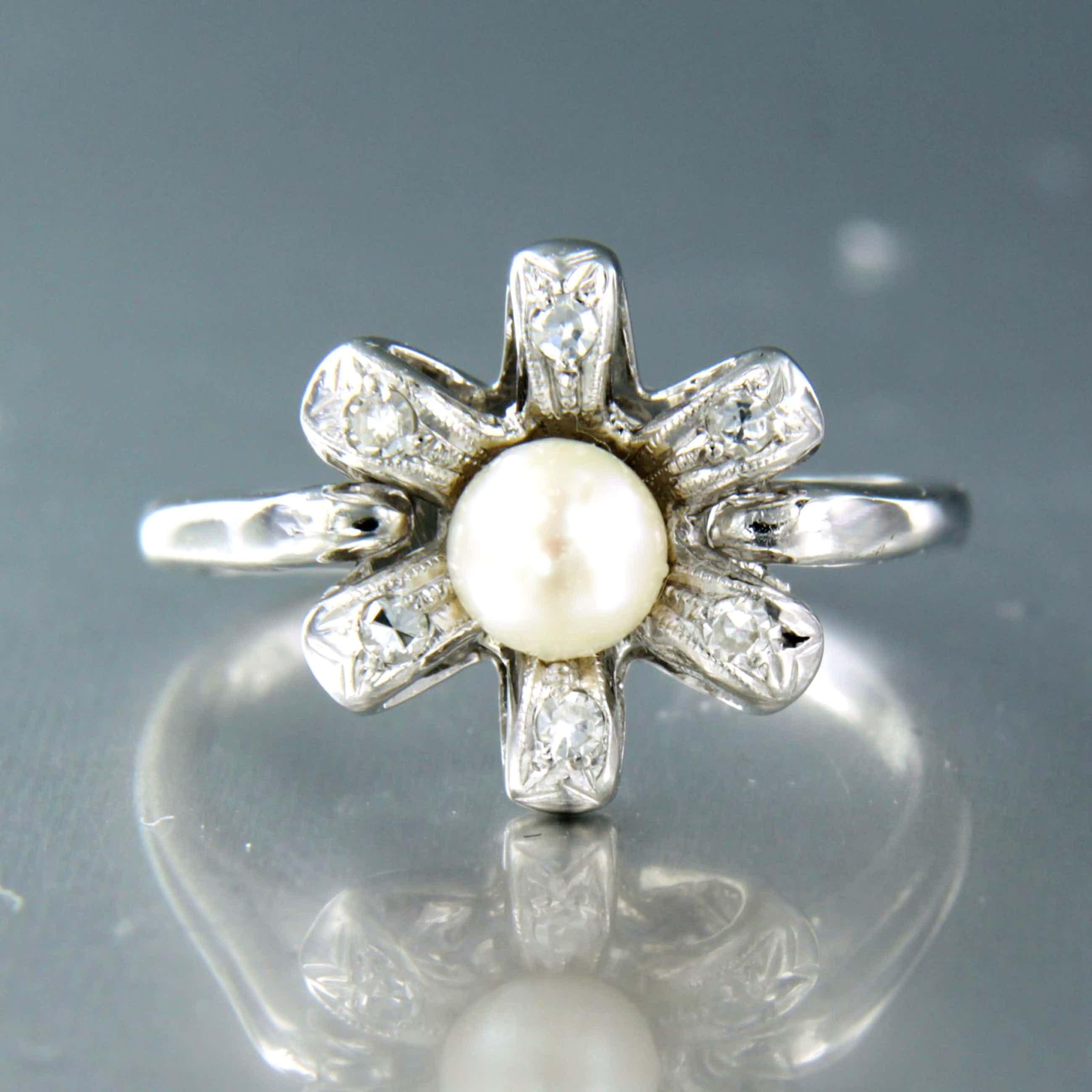 14K Goud - witgouden ring bezet met parel en single cut diamanten kopen? Bied vanaf 180!