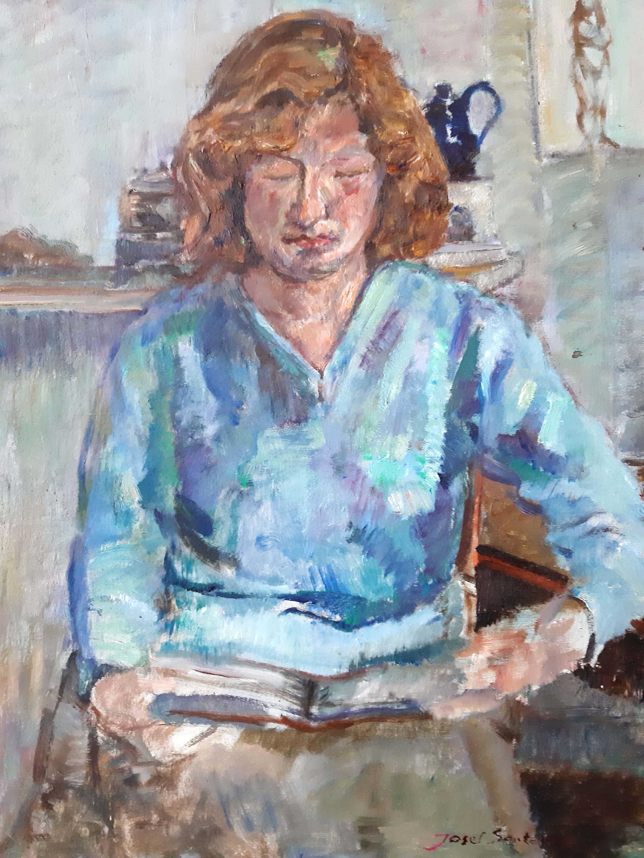 Josef Santen - Portret van een lezende dame kopen? Bied vanaf 40!