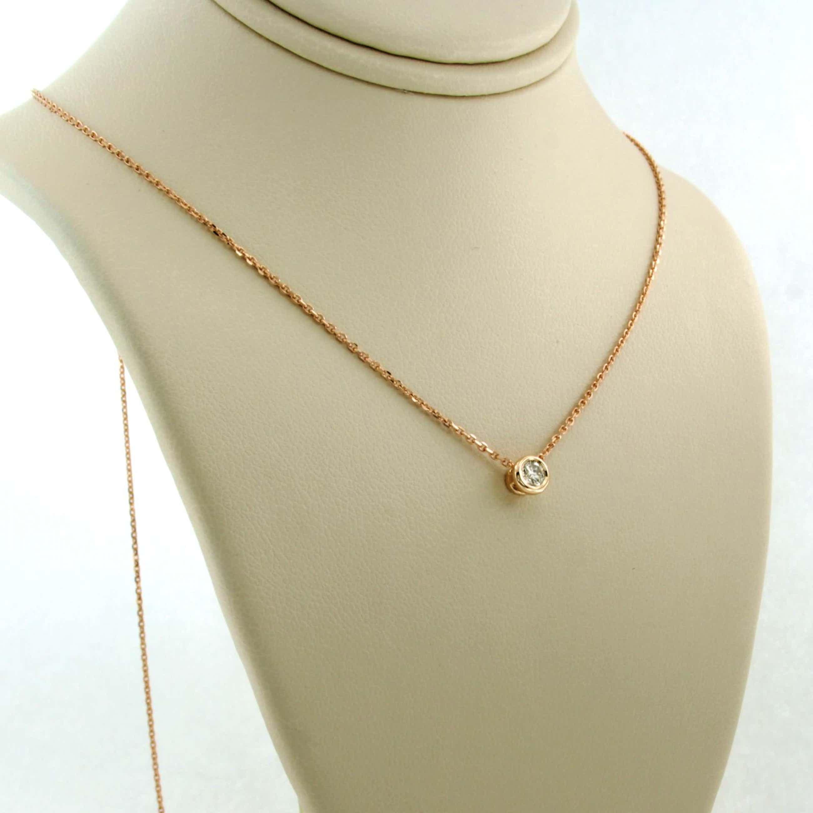 14K Goud - rosé gouden collier met 0.12 ct diamant kopen? Bied vanaf 160!