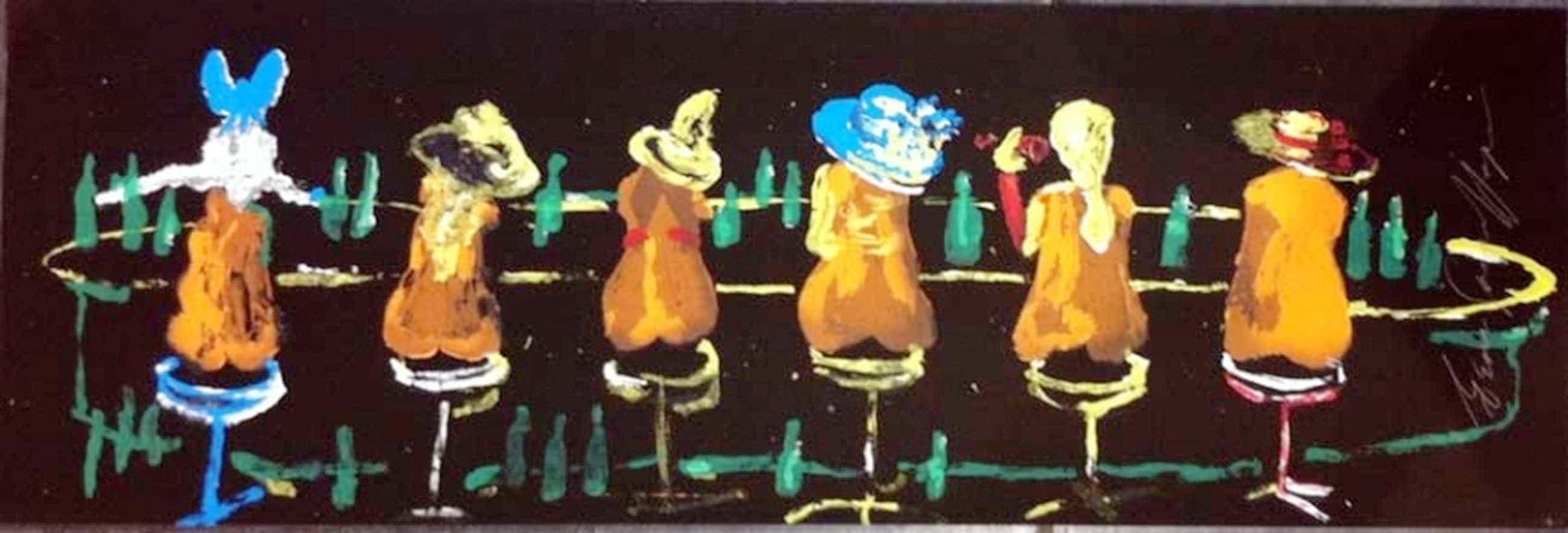 Espen Hagen - Grote hand gesigneerde zeefdruk 'Six ladies at The black bar' kopen? Bied vanaf 40!