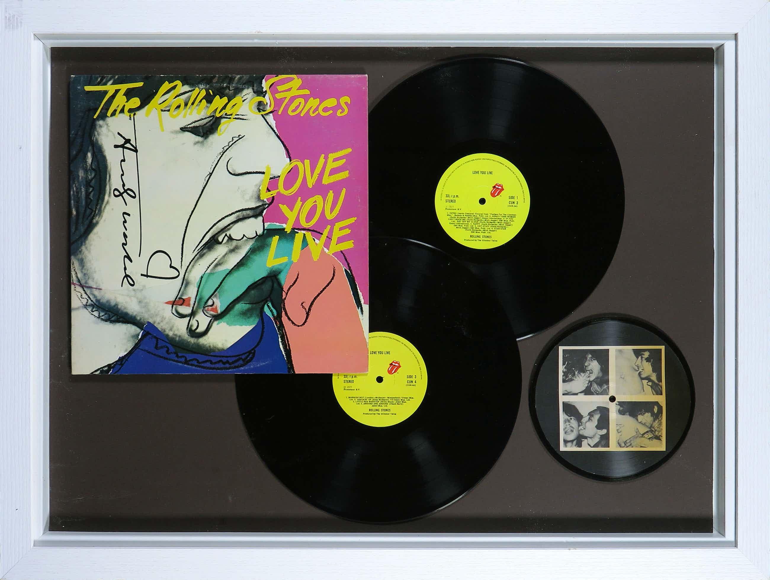 Andy Warhol - Handgesigneerde LP-hoes album Love You Live van The Rolling Stones - Ingelijst kopen? Bied vanaf 590!