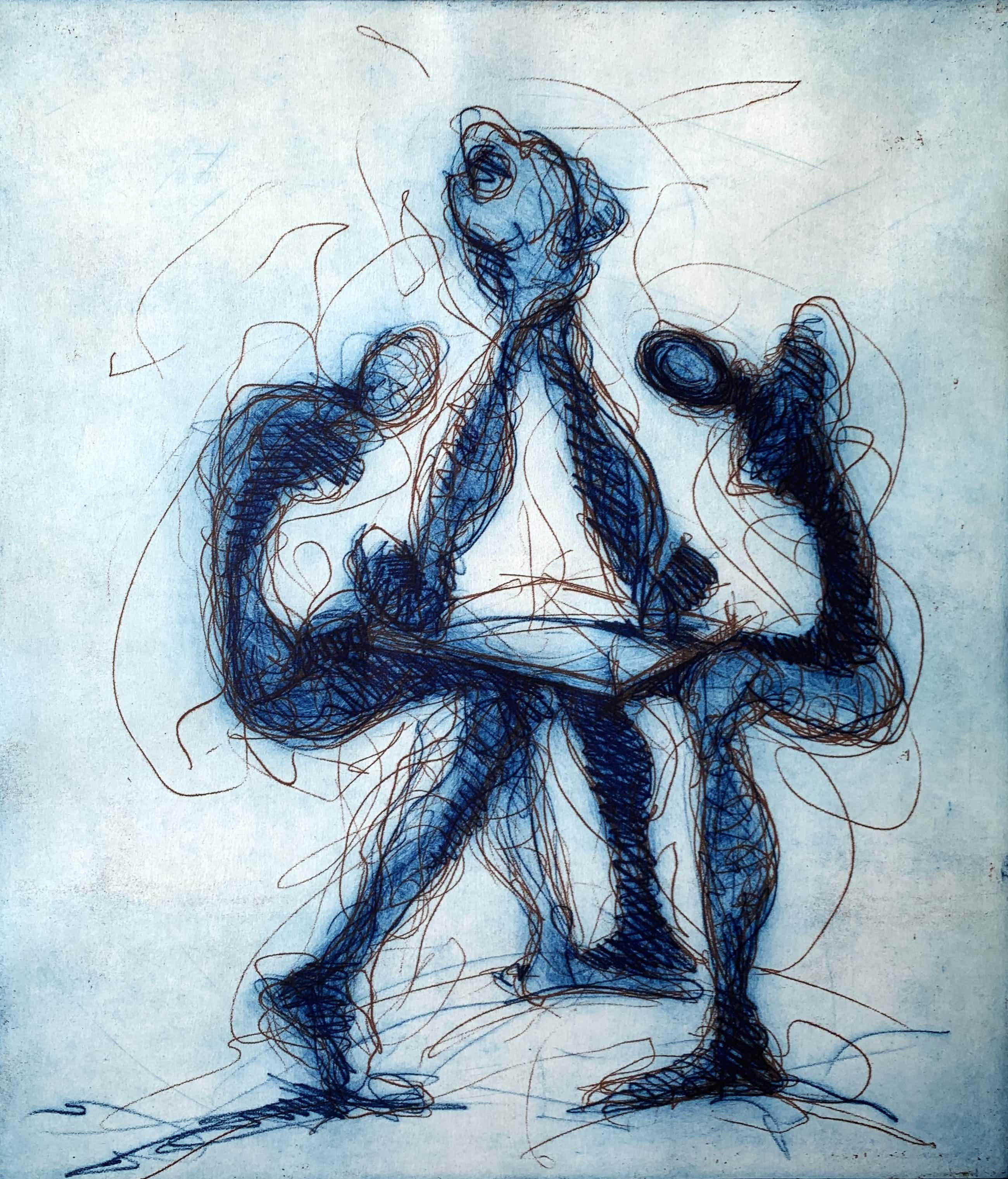Ronald Tolman - kleurenets - 'Drie figuren' - 1988 (INGELIJST, KLEINE OPLAGE) kopen? Bied vanaf 120!