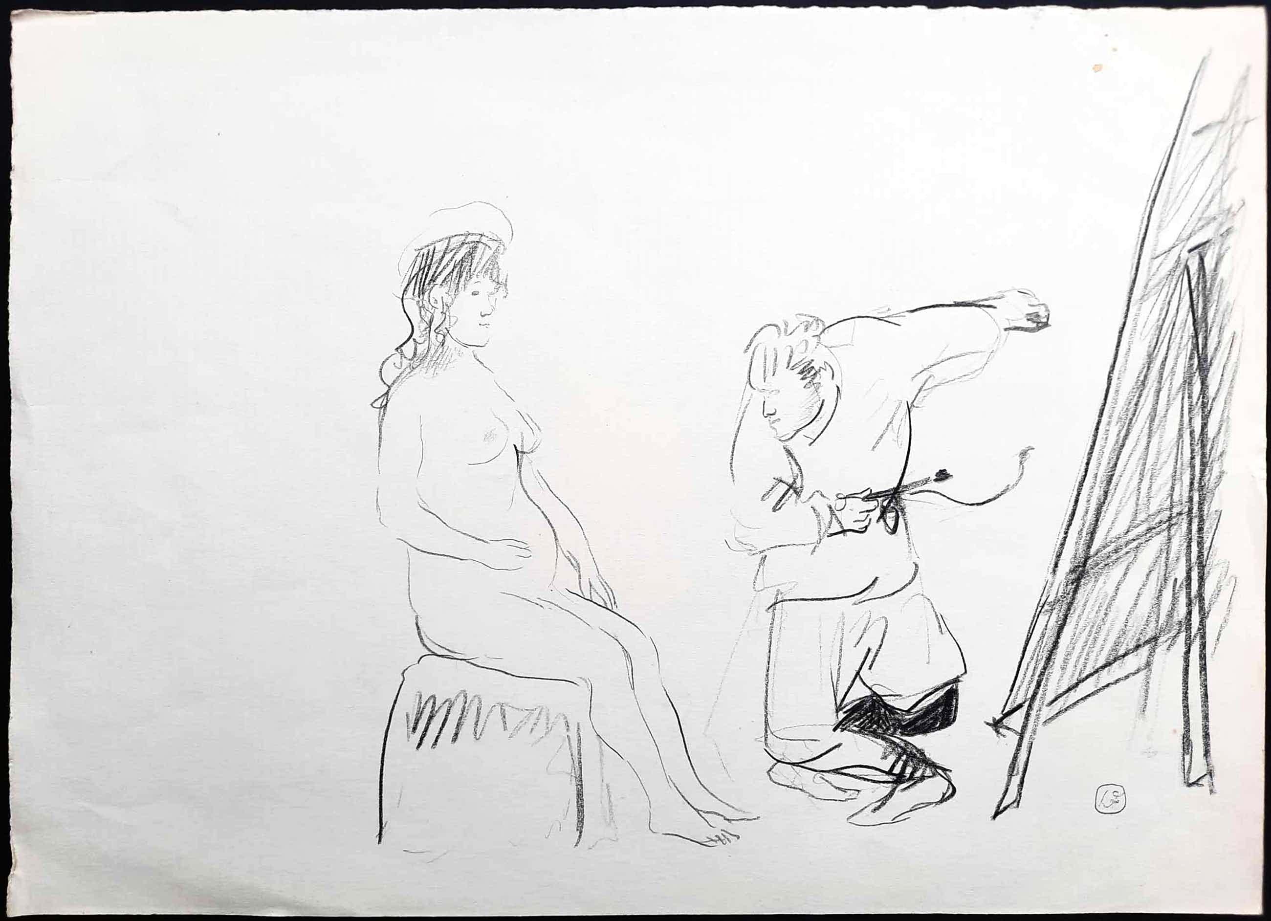Luis Filcer - De schilder en zijn model – potloodtekening unicum - 21517 kopen? Bied vanaf 95!