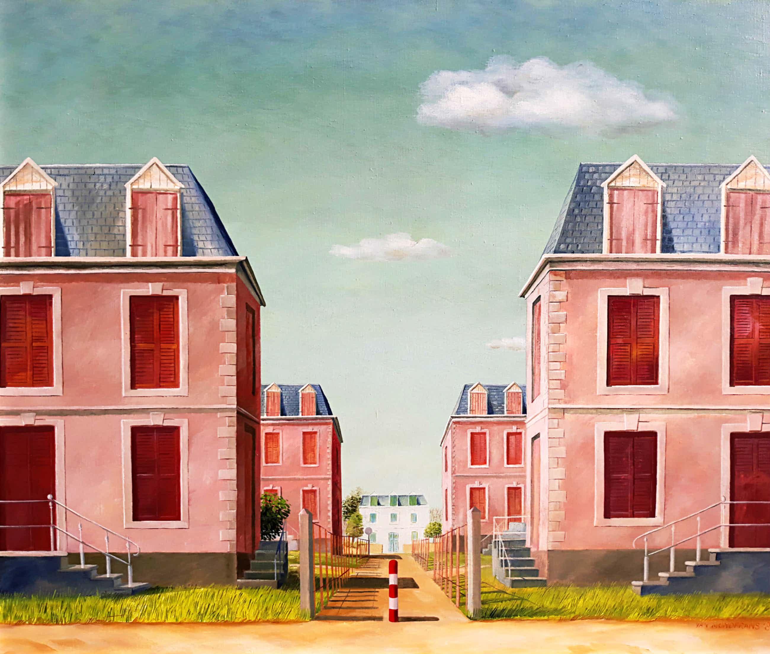 Erna van Mondfrans - Huizen in Frankrijk, olieverf op doek (ingelijst) kopen? Bied vanaf 150!