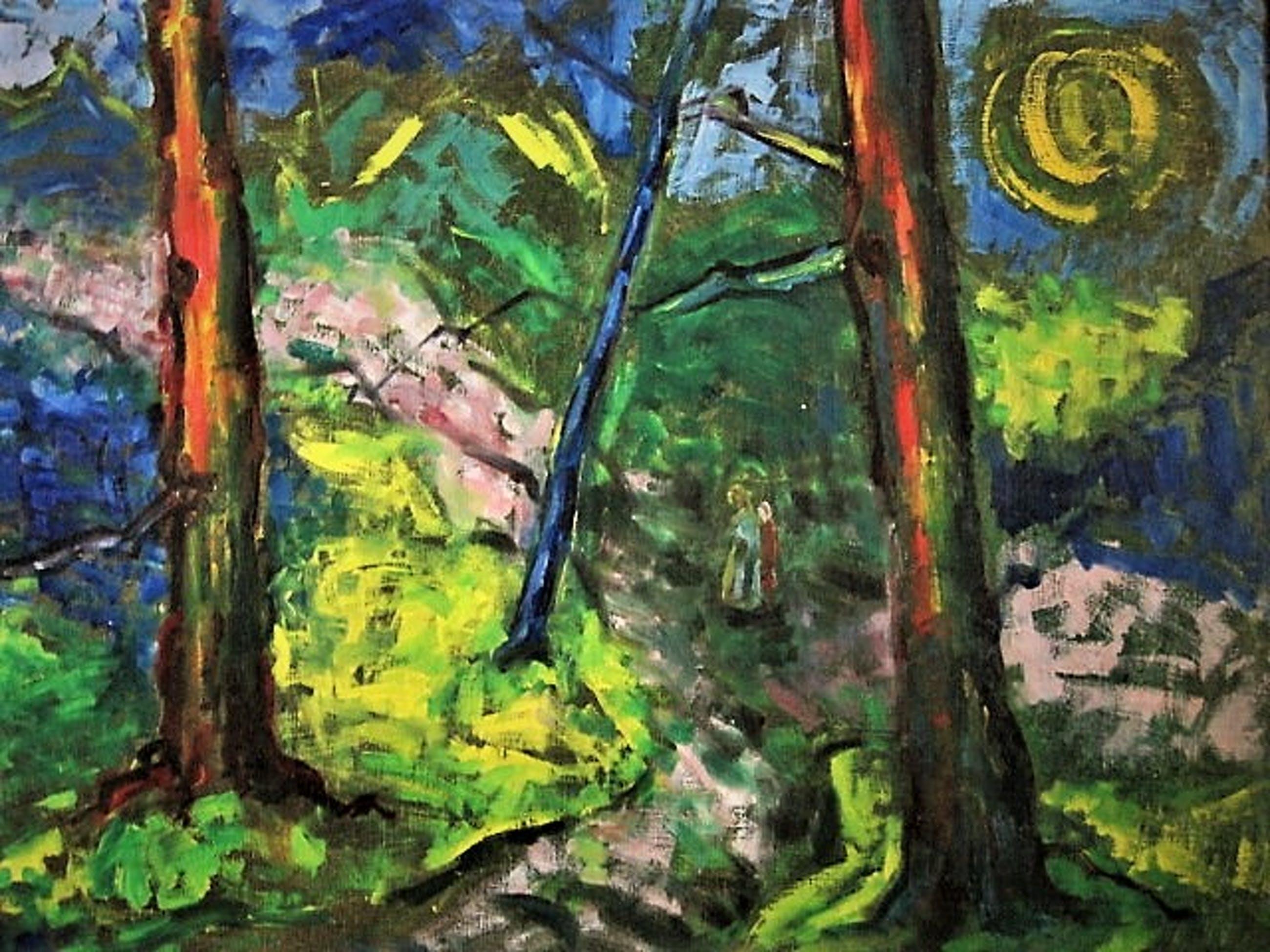Jacobus Doeser - Olieverf 1935 - Luministische periode - Kinderen in nachtelijk bos - GROOT!! kopen? Bied vanaf 210!