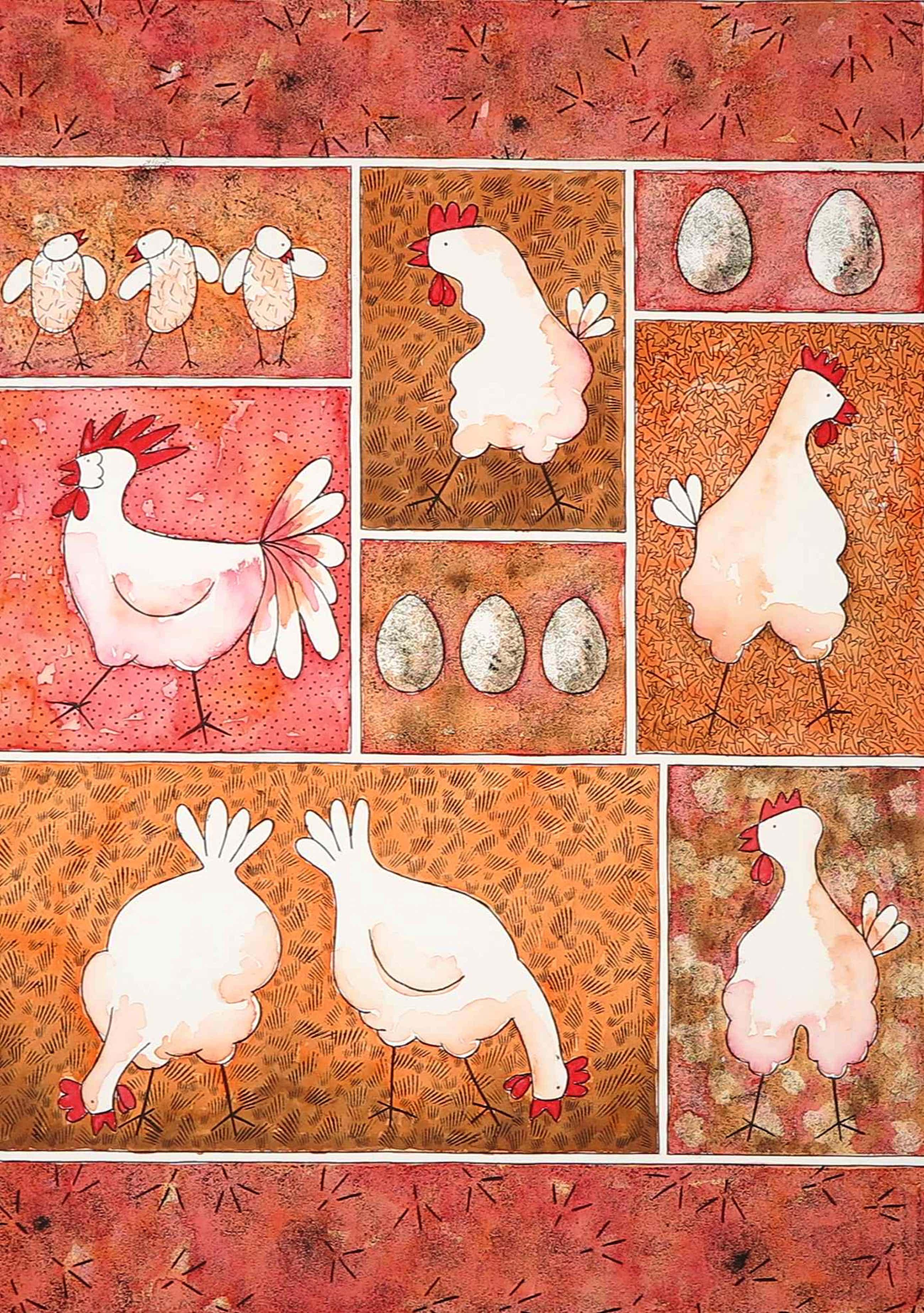 Ans van Dijk - Aquarel, Check out the chicken kopen? Bied vanaf 100!
