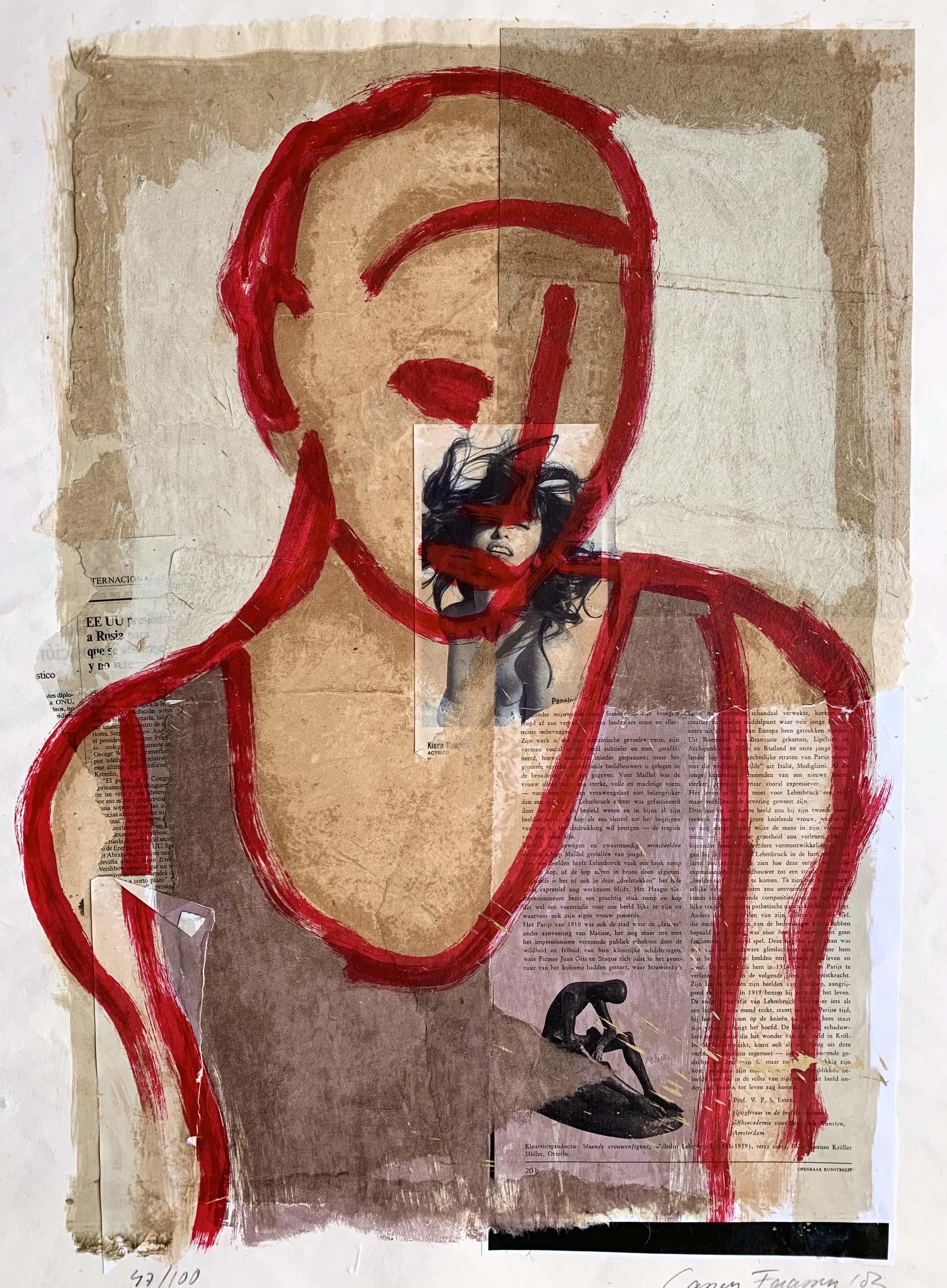 Casper Faassen - Collage met zeefdruk/acryl | 'Dame in rood' | 2003 kopen? Bied vanaf 180!