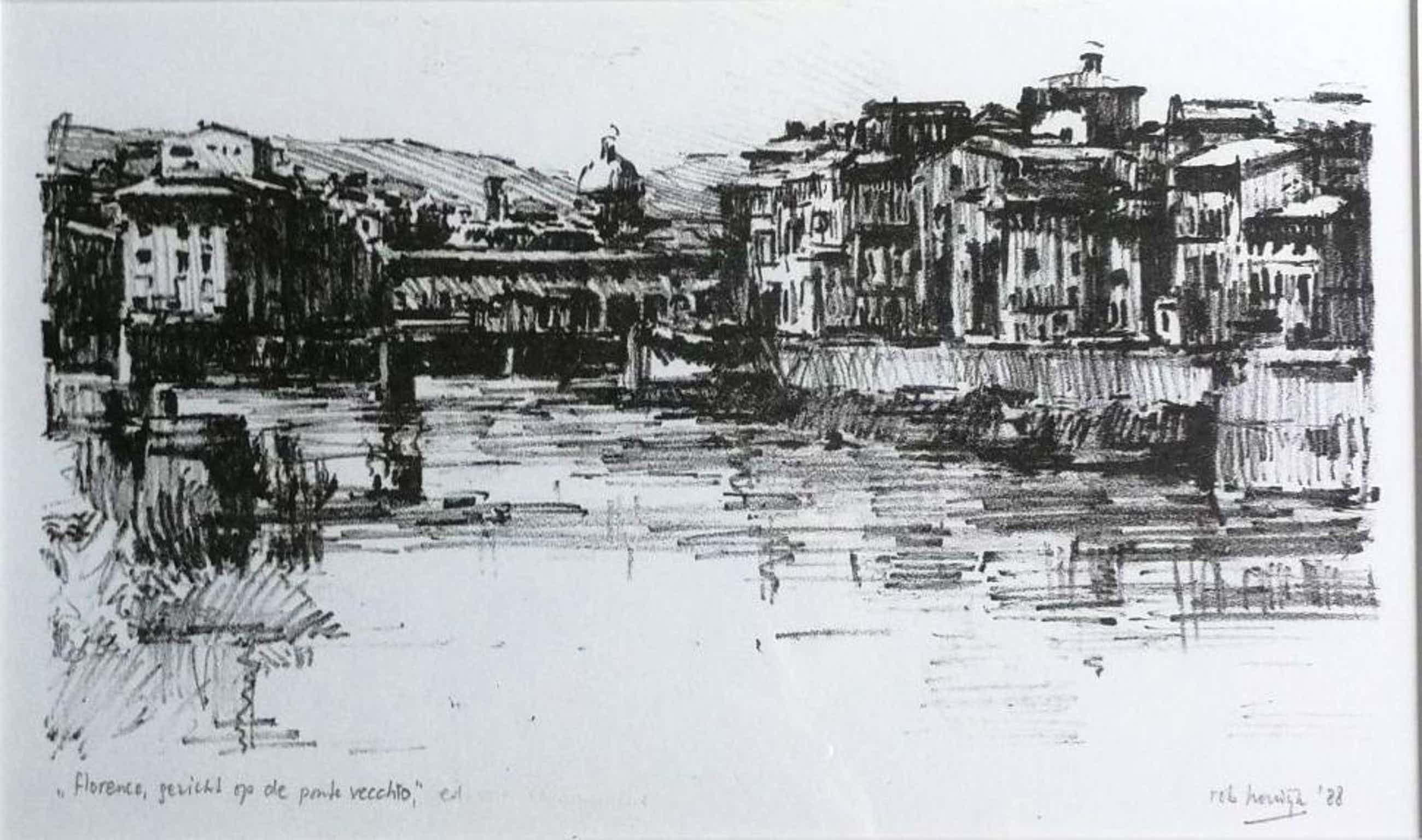 Rob Houdijk - Florence, Gezicht op de Ponte Vecchio kopen? Bied vanaf 80!