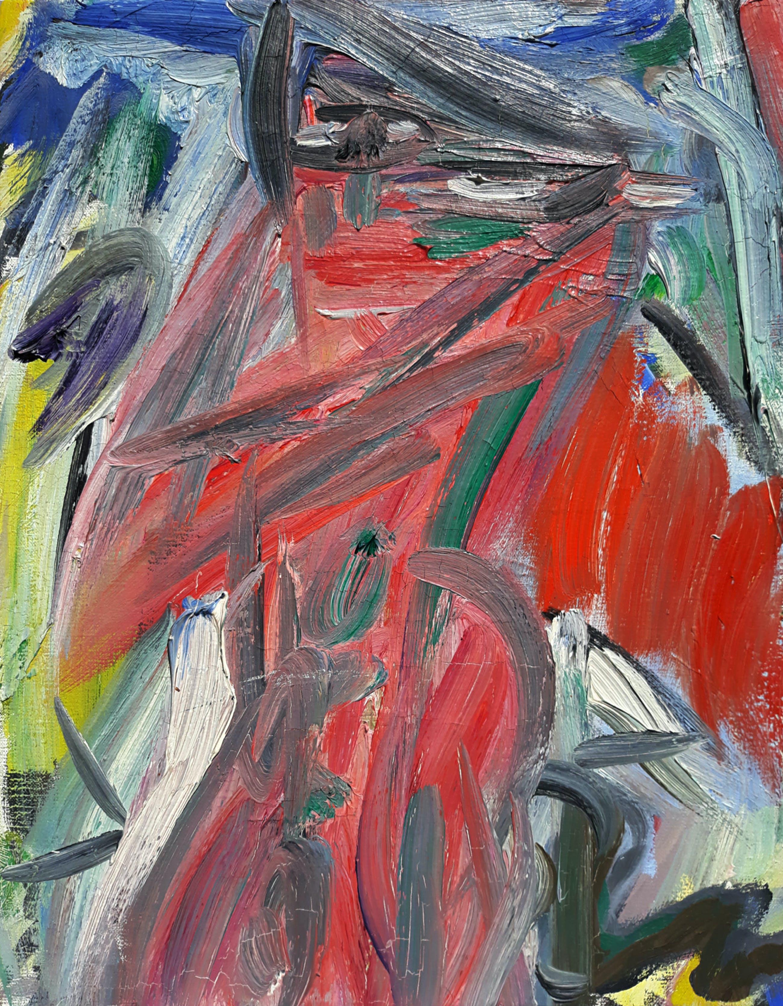 """Alphons Freijmuth - """"Action compositie"""" met naakt, olieverf op doek (netjes ingelijst) kopen? Bied vanaf 375!"""
