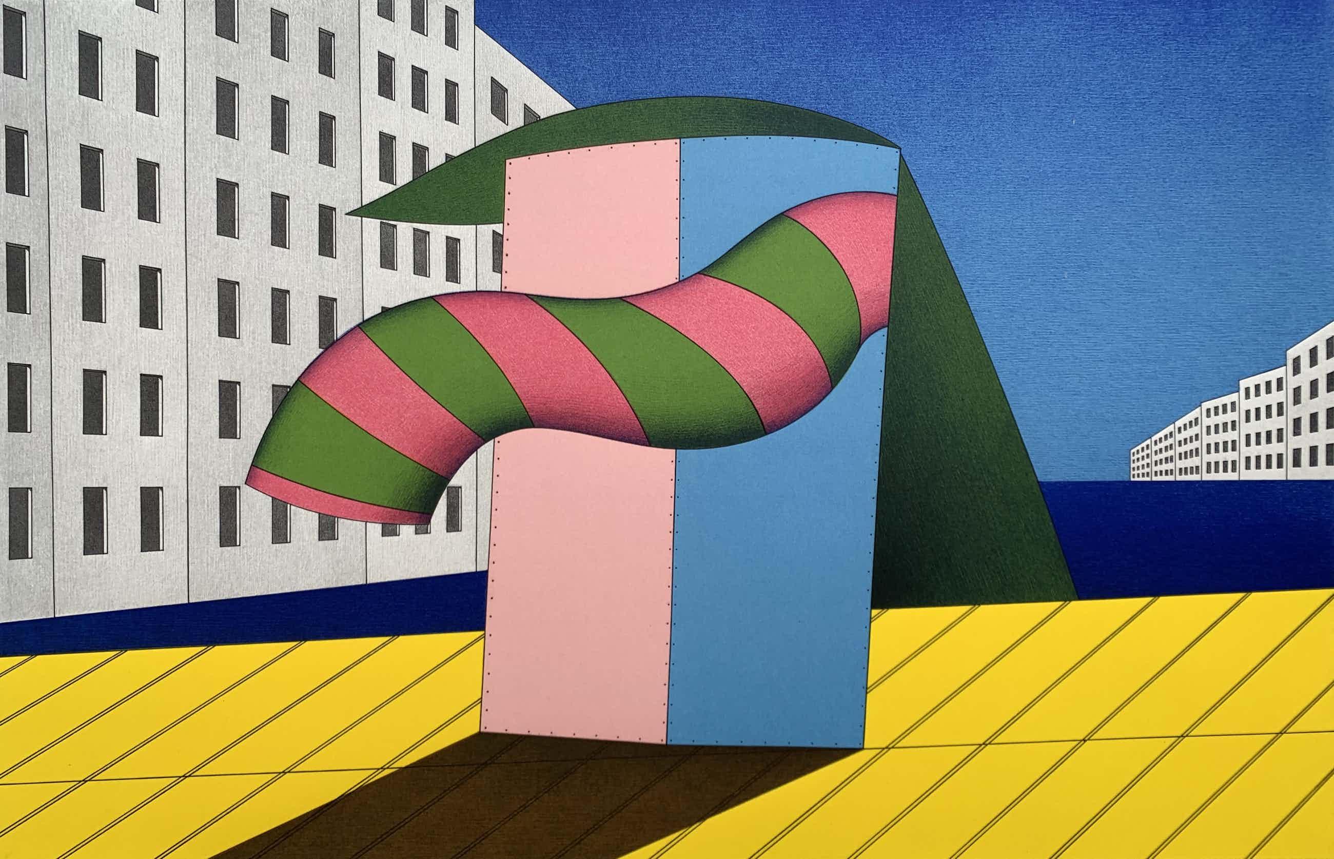 Marinus Fuit - kleurenzeefdruk - 'Gekleurd object aan binnenzee' - 1995 kopen? Bied vanaf 80!