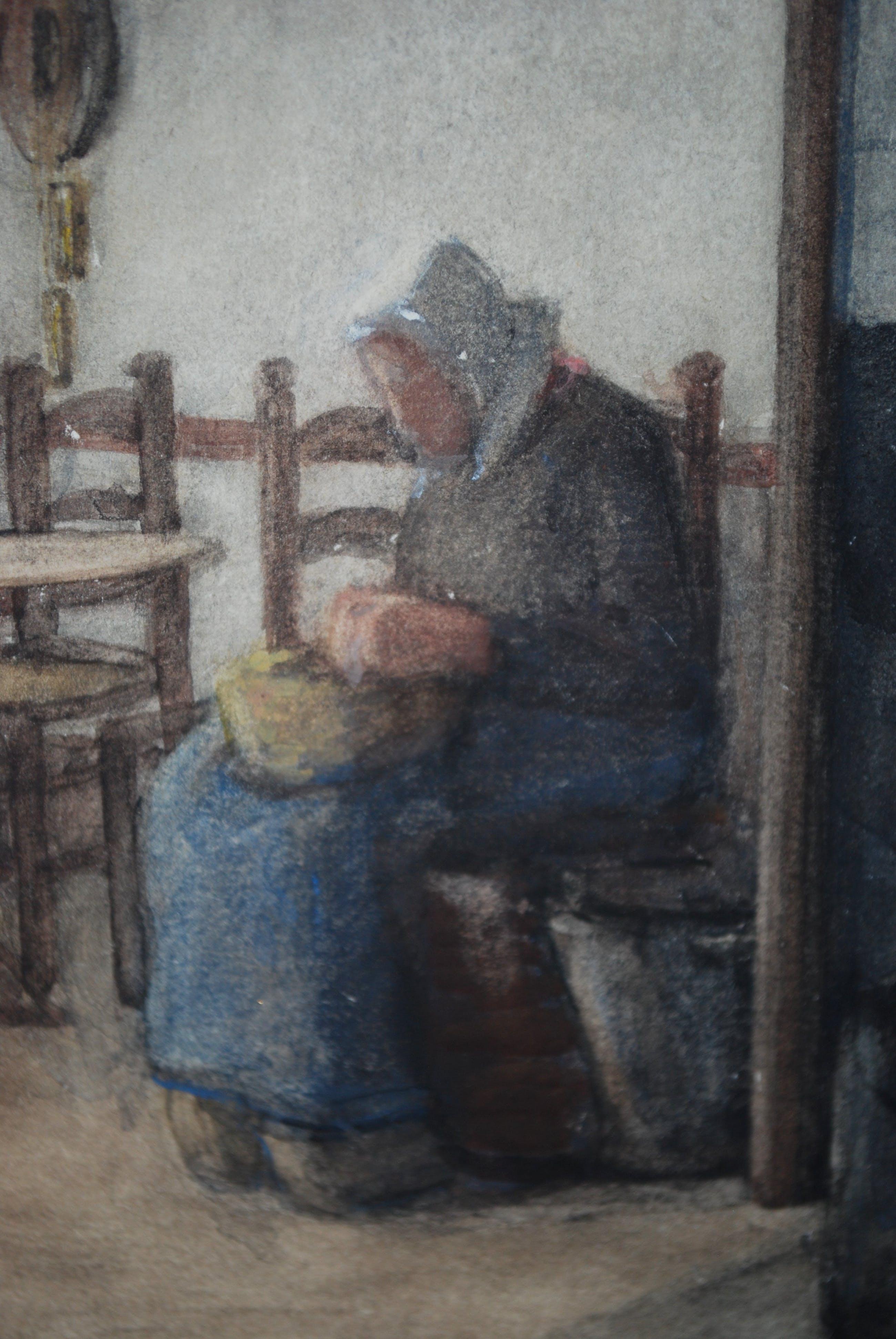 Theodora Elisabeth Wolterbeek Muller - vrouw in boerenkeuken - aquarel kopen? Bied vanaf 65!