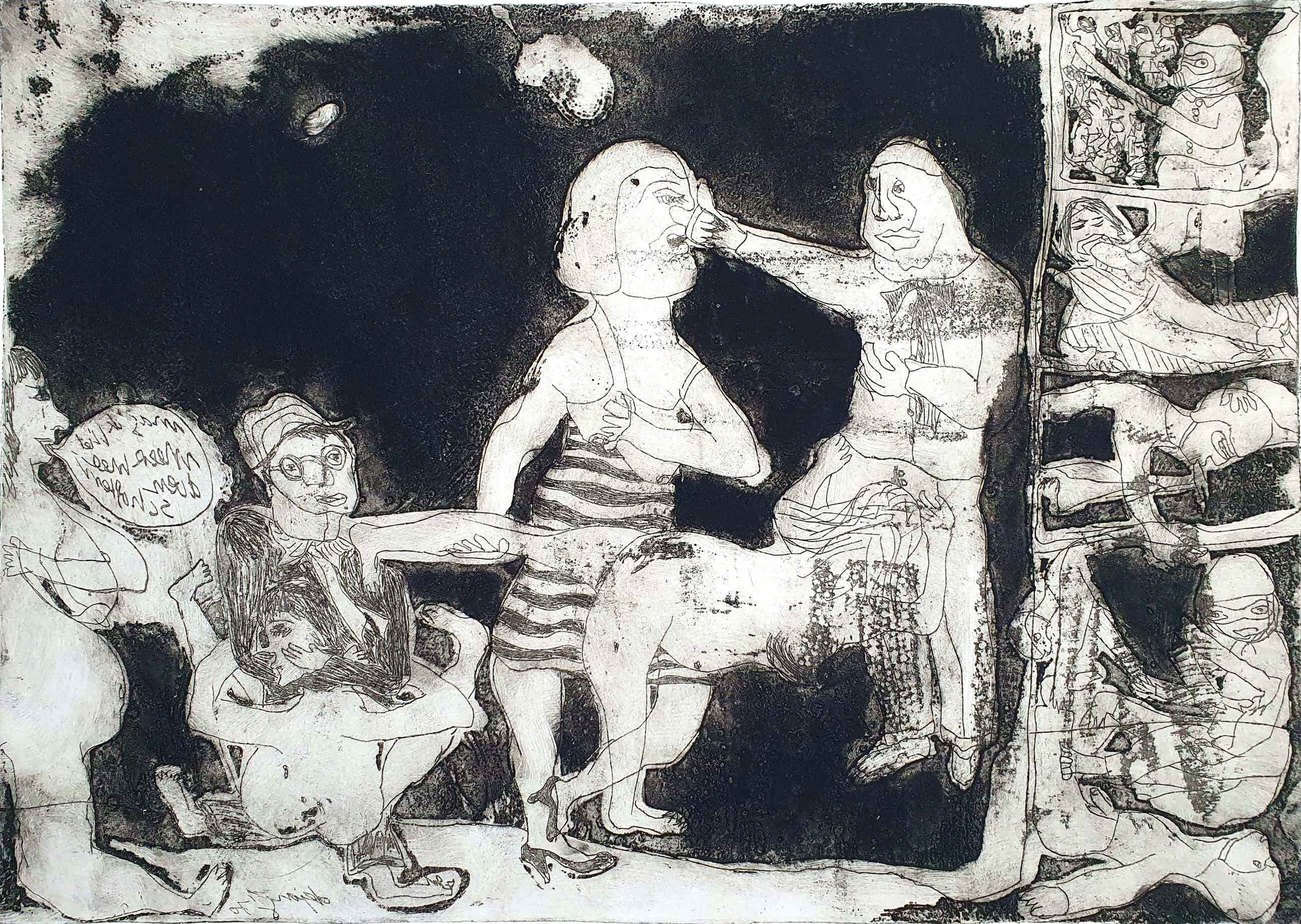 Jacqueline de Jong - Ets: 'Compositie met figuren' kopen? Bied vanaf 50!