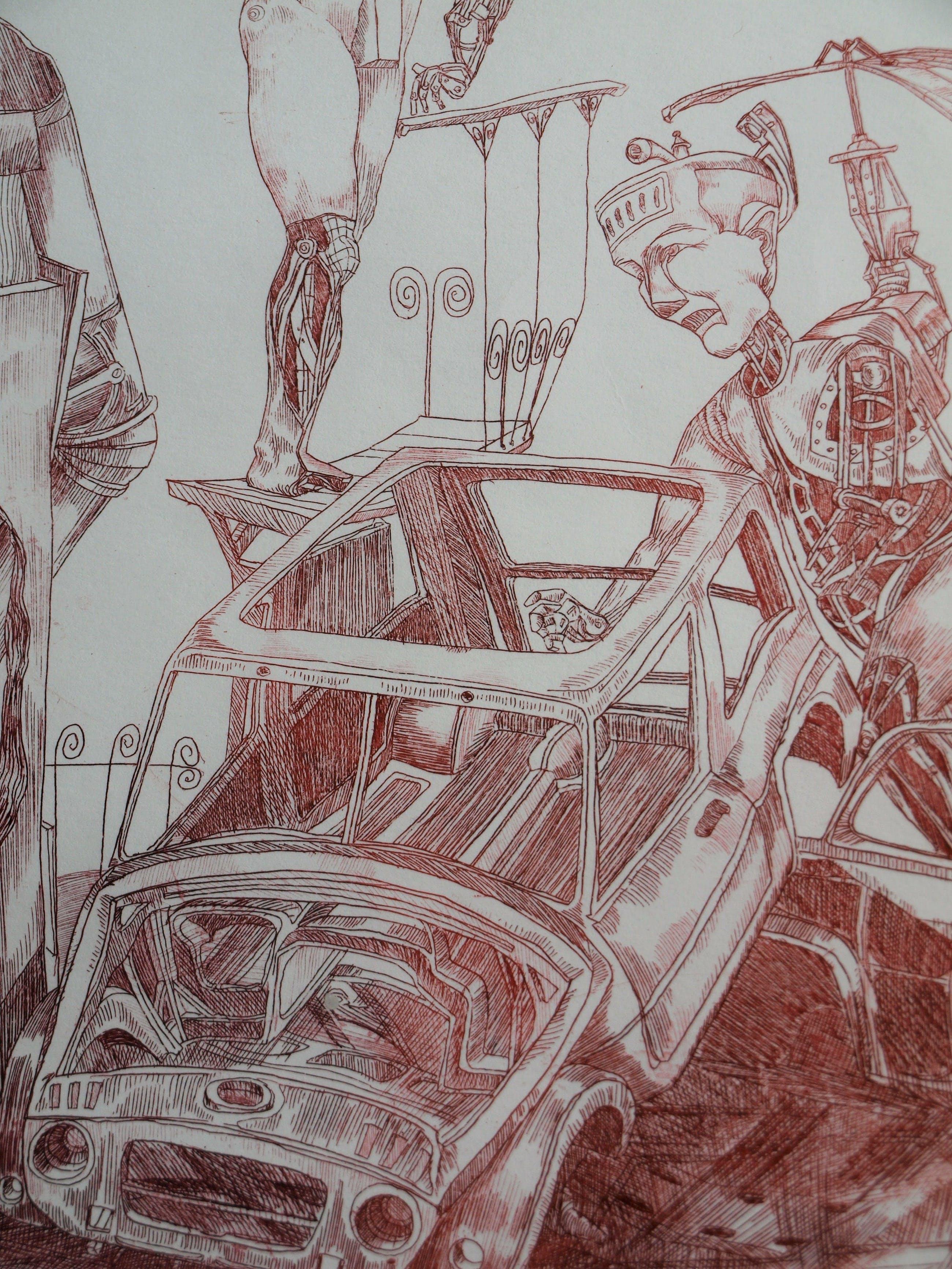 """Niet of onleesbaar gesigneerd - Ets, droge naald , """"Robots in de auto-industrie"""" – gesigneerd & ingelijst - 1995 kopen? Bied vanaf 10!"""
