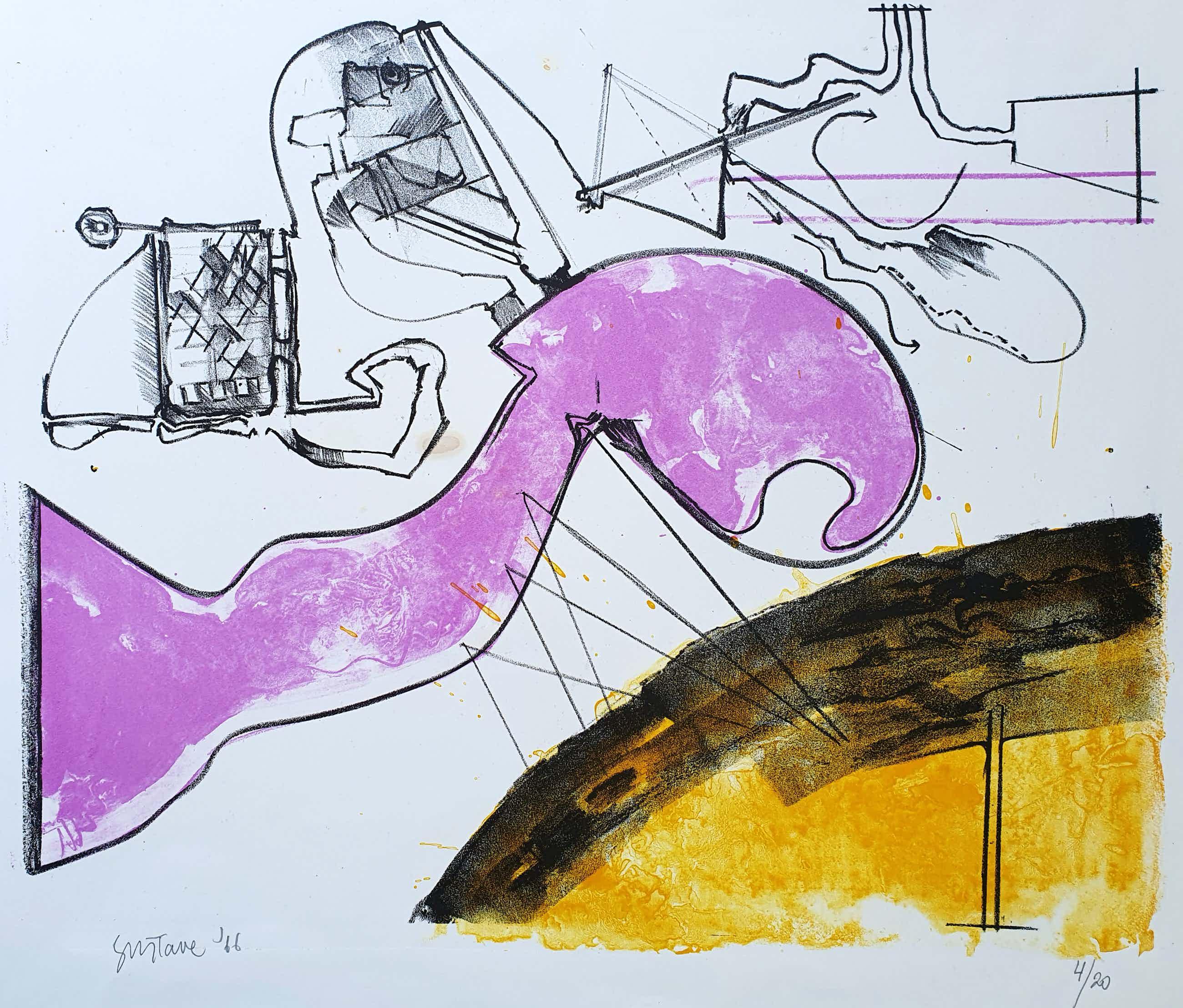 Gustave Asselbergs - Litho, Compositie in paars en geel(1966) kopen? Bied vanaf 45!