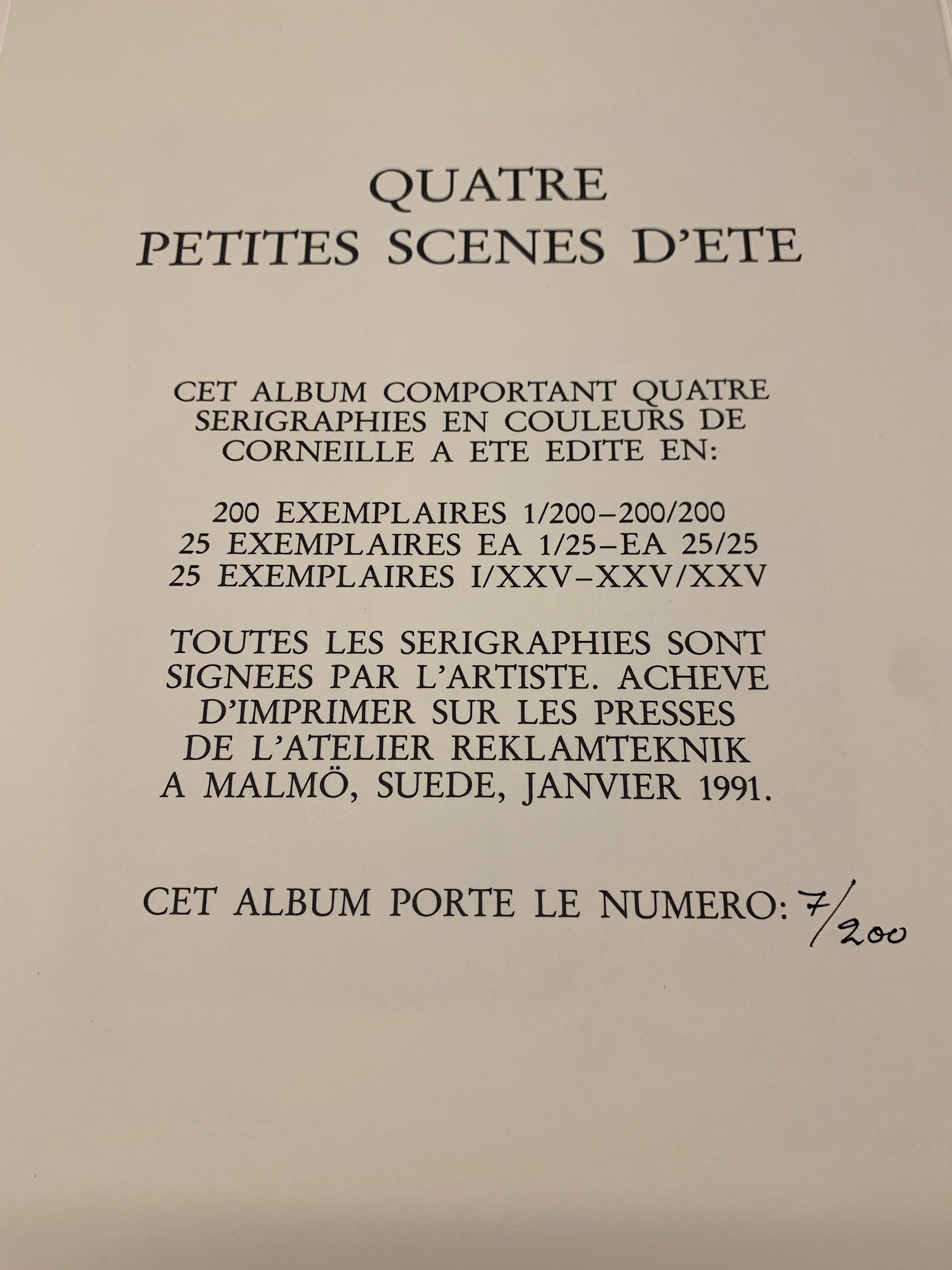 Corneille - Quatre petites scenes d'ete (Portfolio met 4 zeefdrukken) kopen? Bied vanaf 475!
