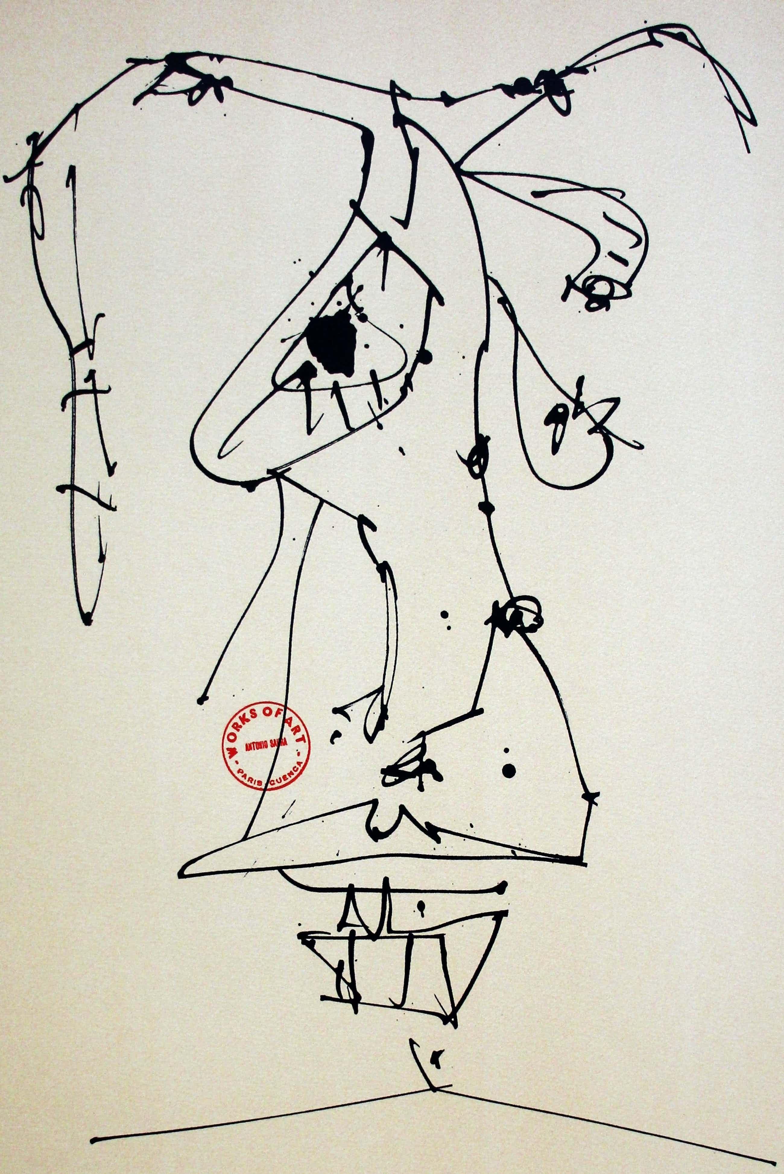 Antonio Saura - Litho: Vier maskers bij zelfportretten - 1981(1) kopen? Bied vanaf 250!
