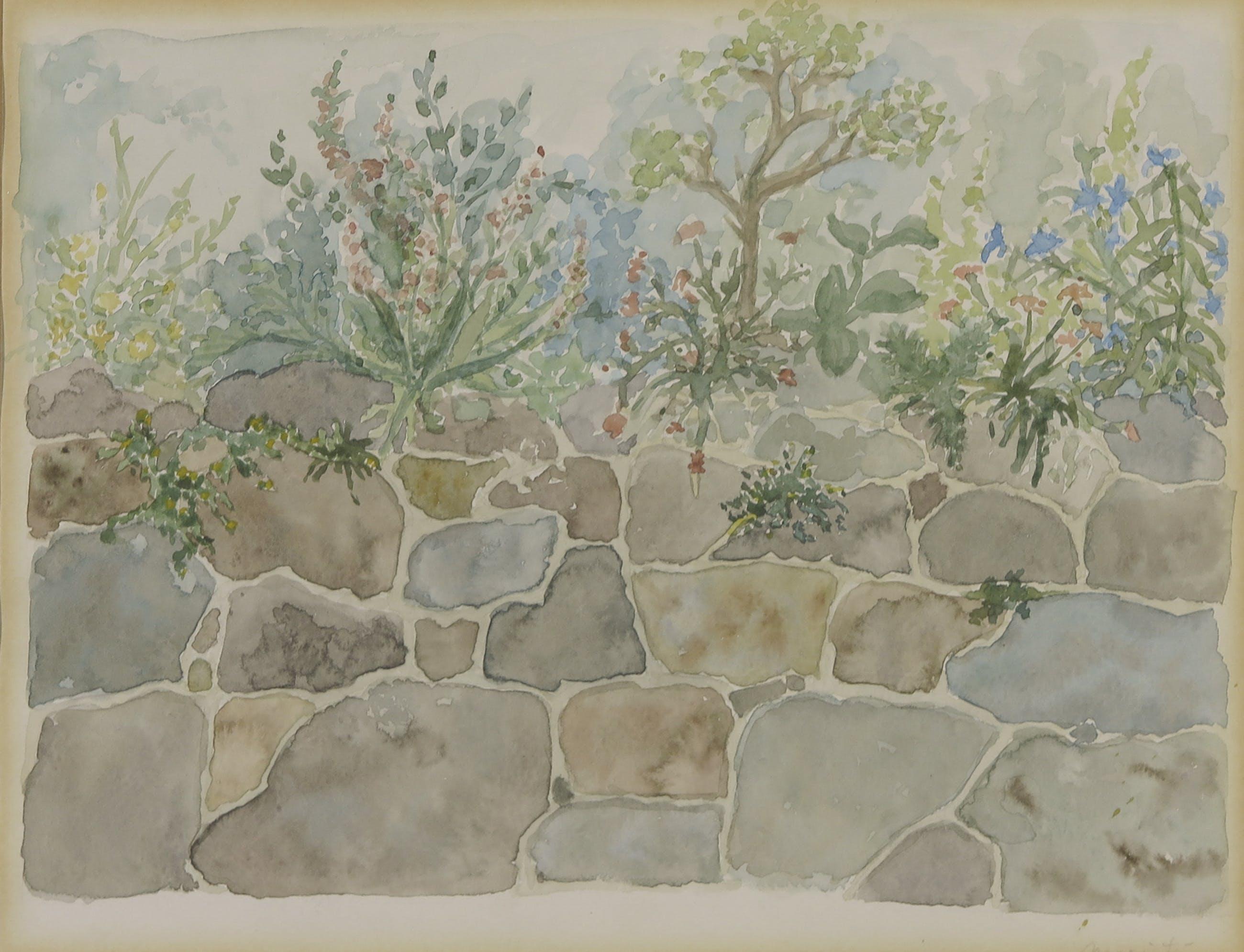 Niet of onleesbaar gesigneerd - Aquarel, Stenen muurtje met planten - Ingelijst kopen? Bied vanaf 1!