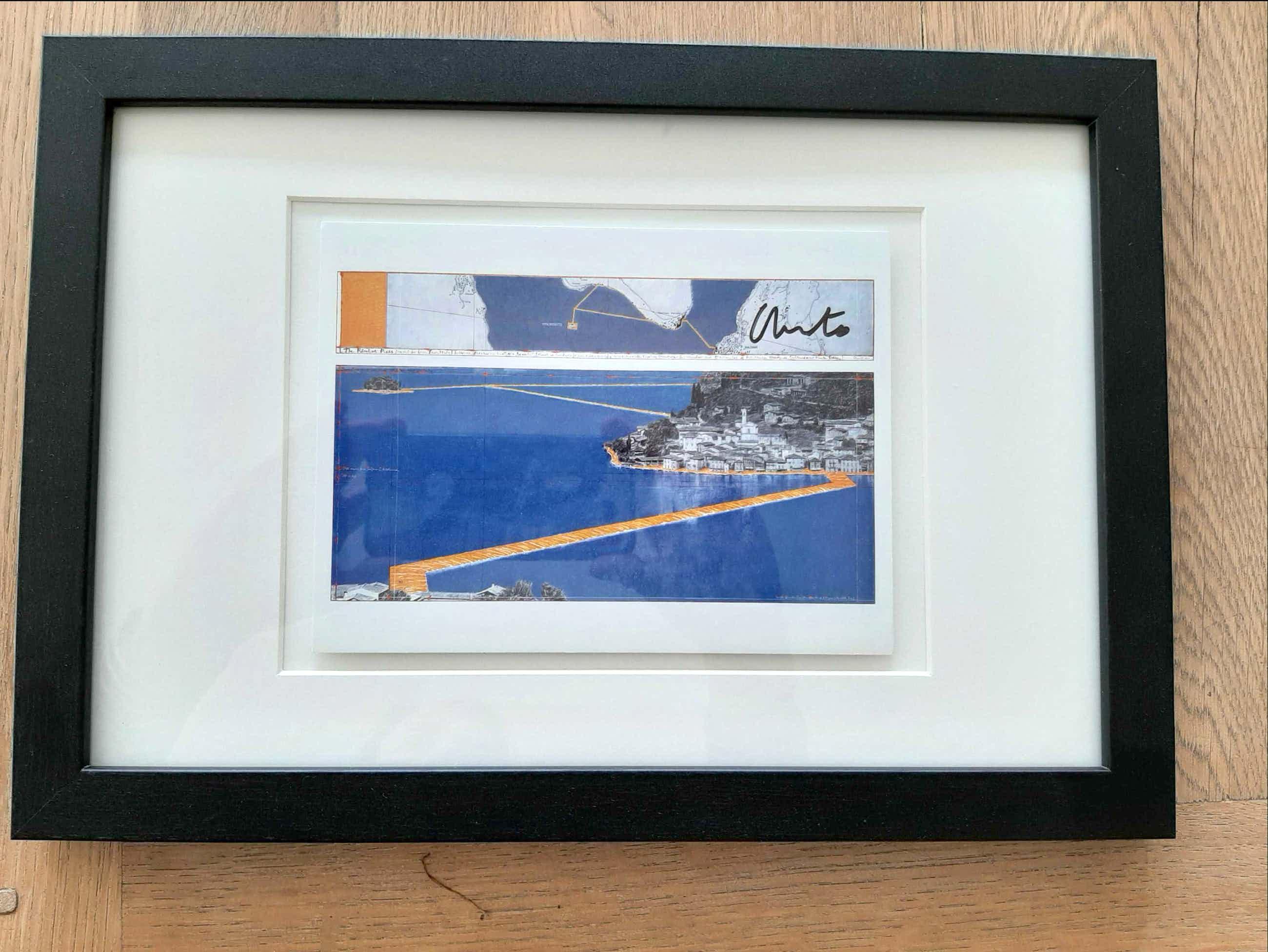 Christo - Floating Piers, Lake Iseo - Ingelijst en handgesigneerd kopen? Bied vanaf 180!