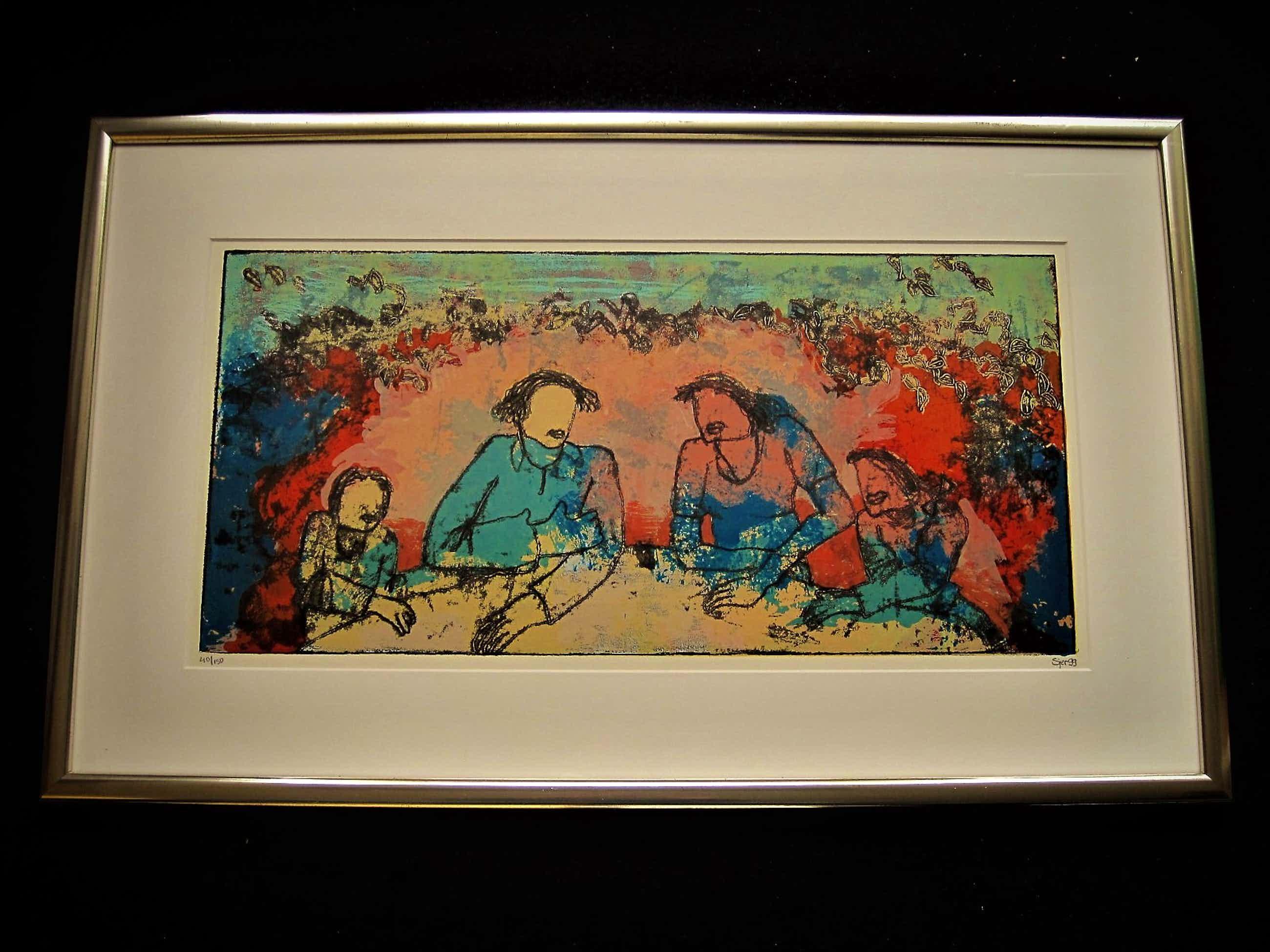 """Sjer Jacobs - Karakteristiek expressionistische Zeefdruk """"het Familiediner"""" gesigd. VANAF 1€ kopen? Bied vanaf 95!"""