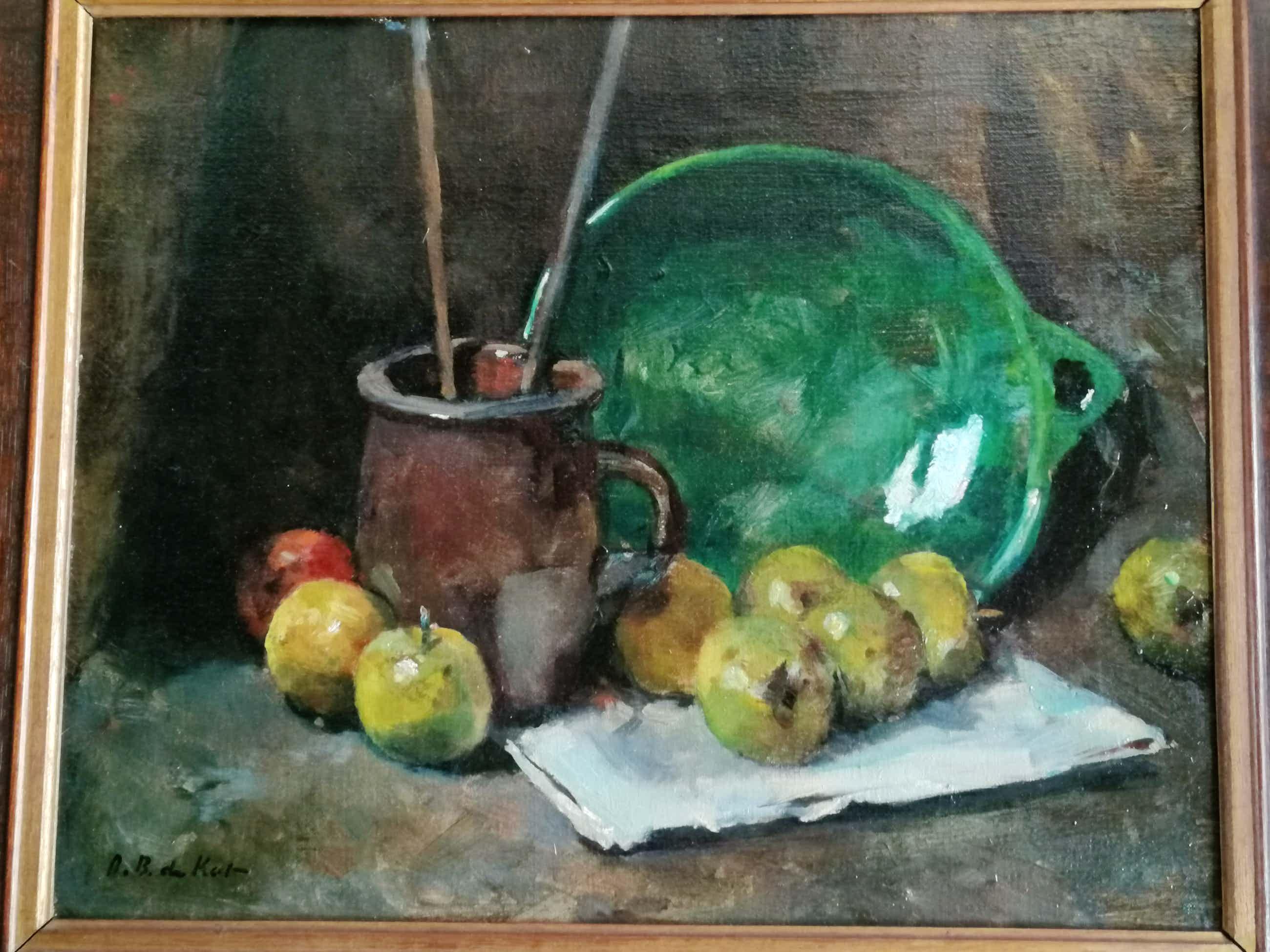 Otto B. de Kat - Stilleven met appels, bruine kan en groene schaal kopen? Bied vanaf 450!