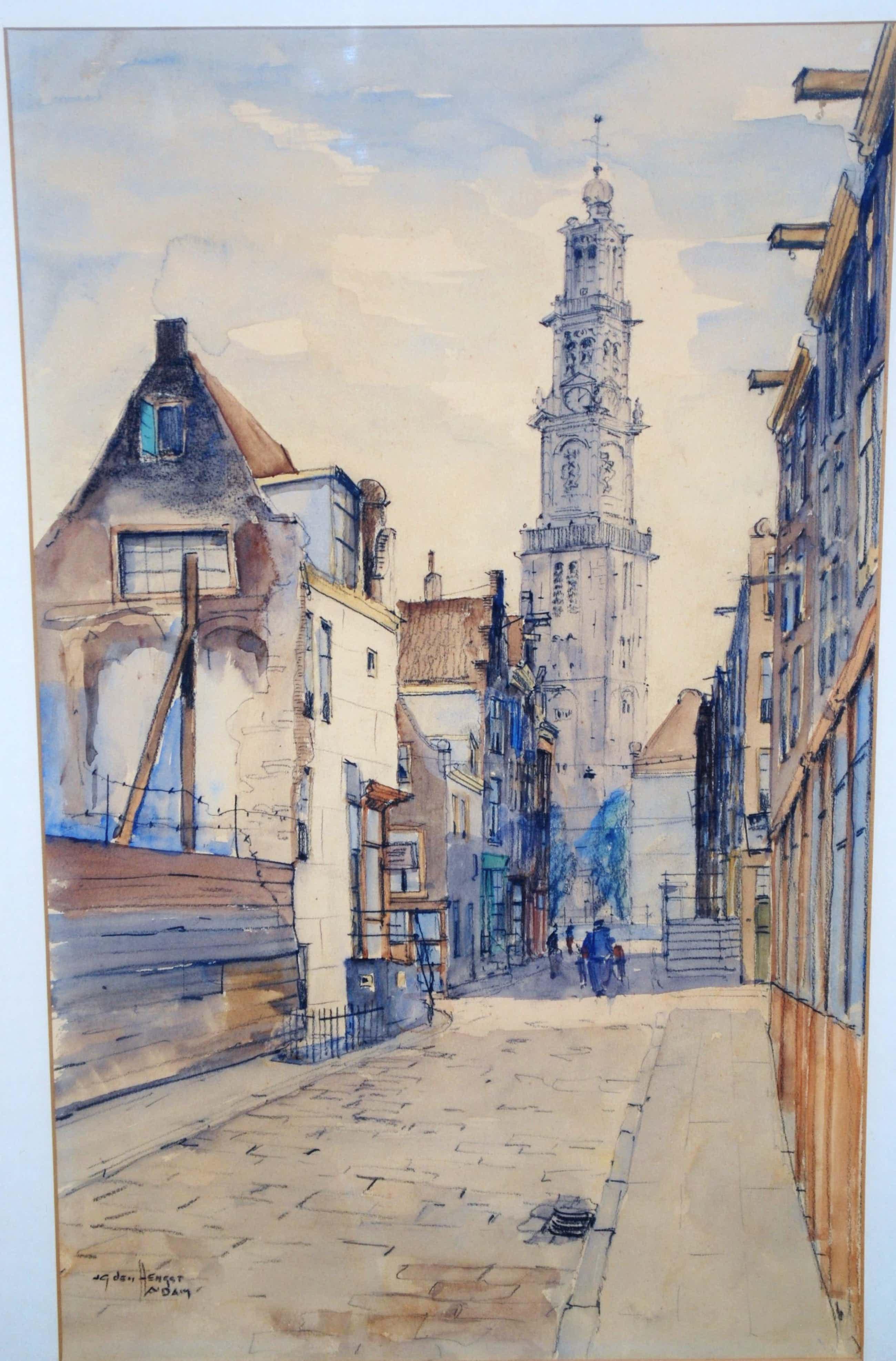 Jan den Hengst - Amsterdam, de Jordaan met de Westerkerk - grote ingelijste aquarel kopen? Bied vanaf 150!