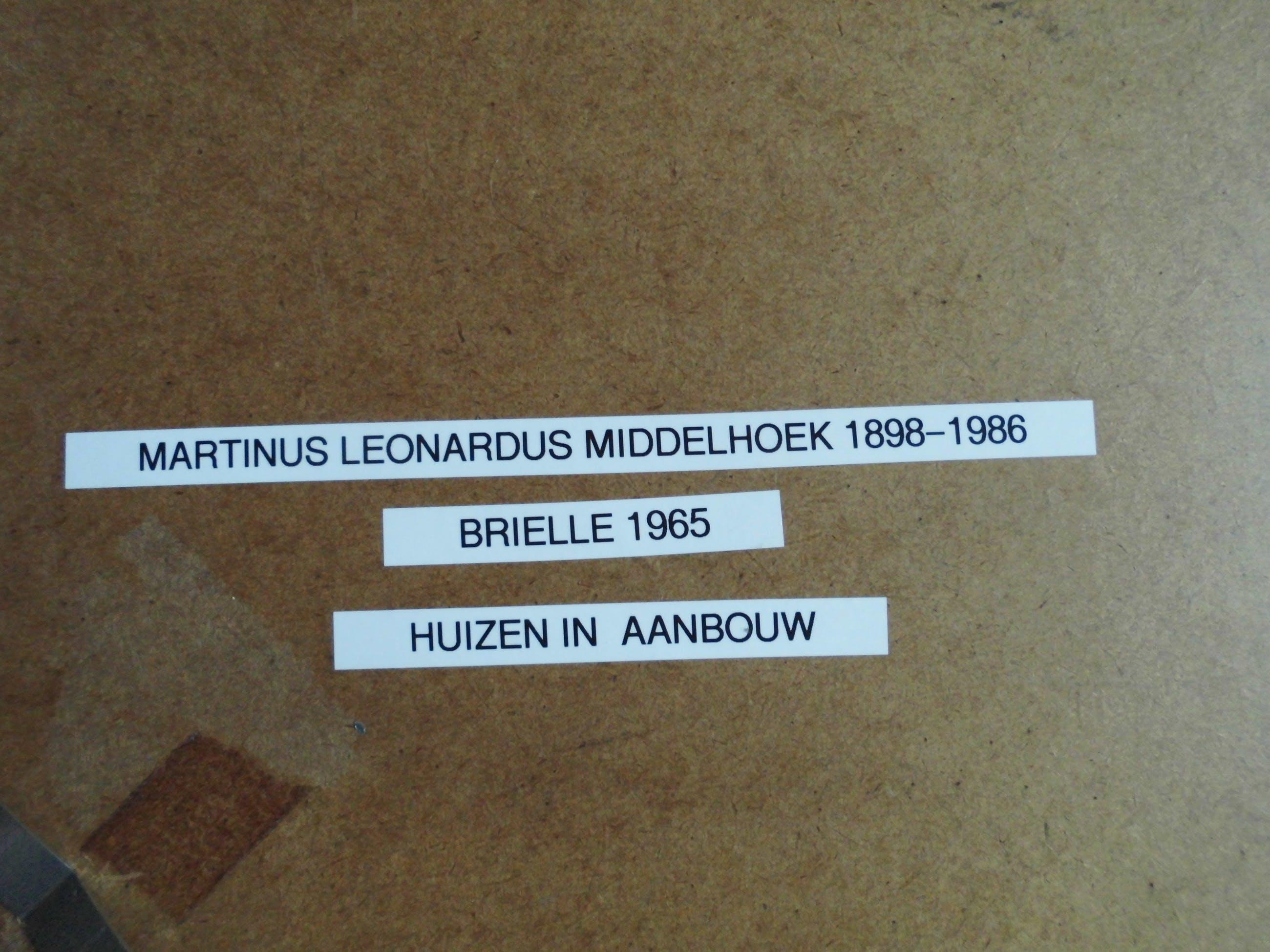 Martinus Leonardus Middelhoek - Aquarel - Huizen in aanbouw Brielle 1965 kopen? Bied vanaf 45!