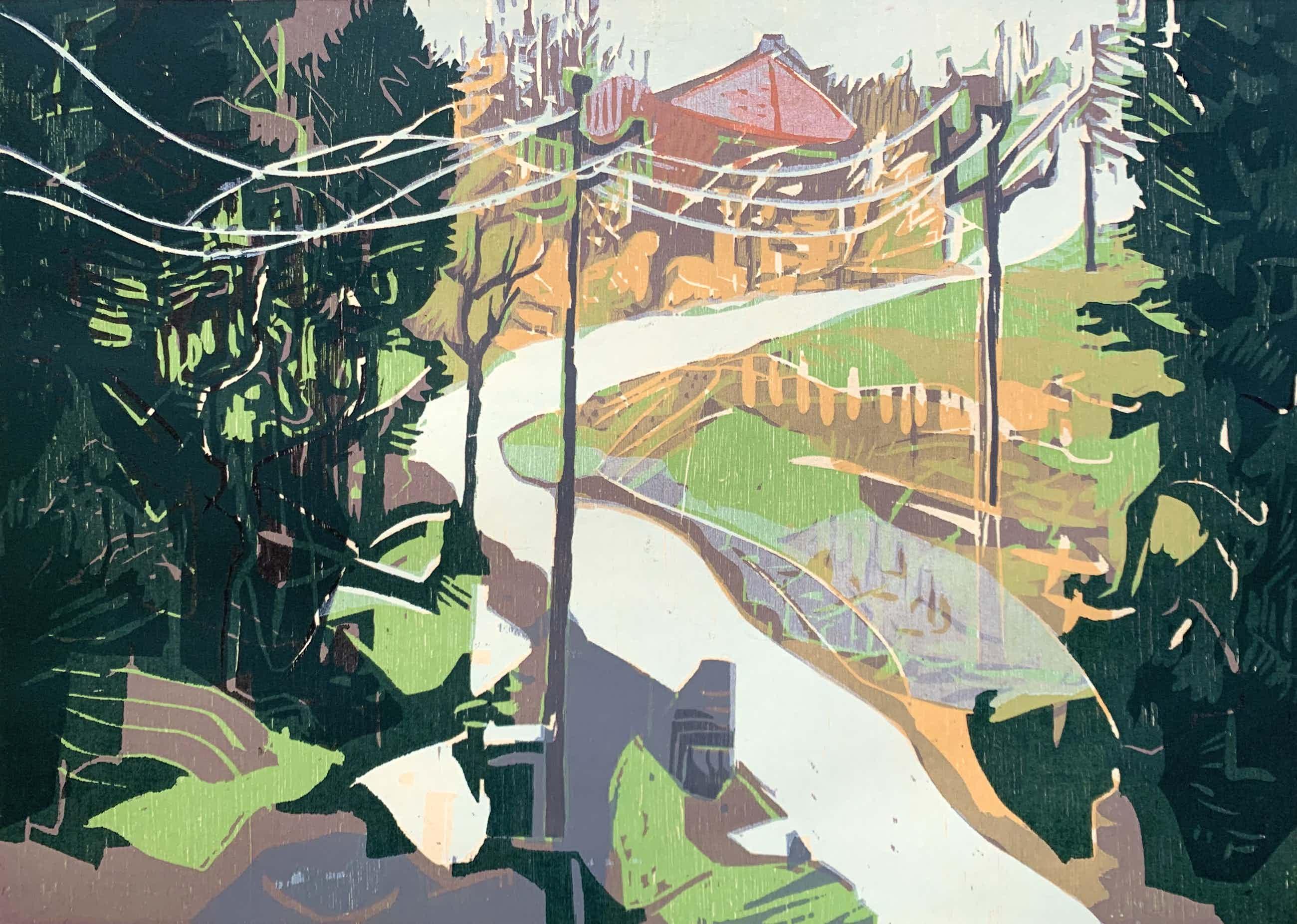 Vincent van Ojen - kleurenhoutsnede - 'Zwarte woud' - 1996 (Zeer kleine oplage) kopen? Bied vanaf 96!