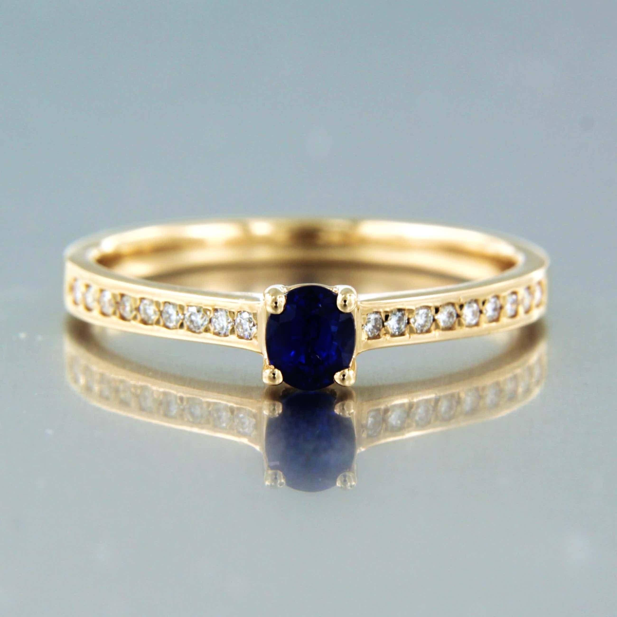 14K Goud - rood gouden ring bezet met saffier en briljant geslepen diamant kopen? Bied vanaf 165!